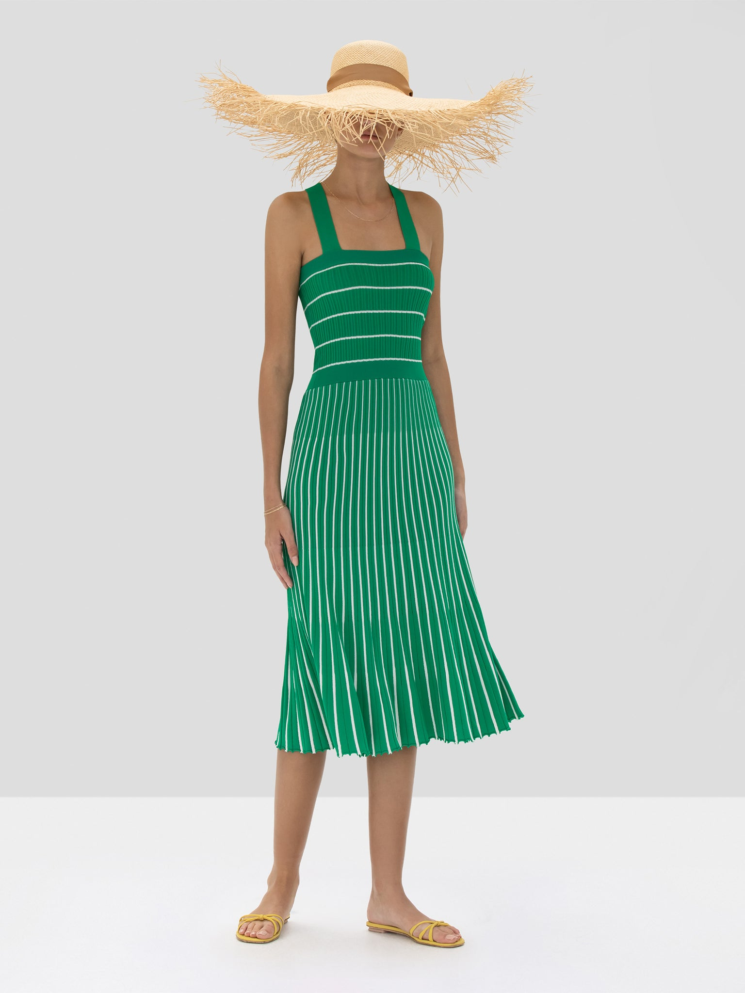 Alexis Bess Dress in Green and White Stripes from the Spring Summer 2020 Collection