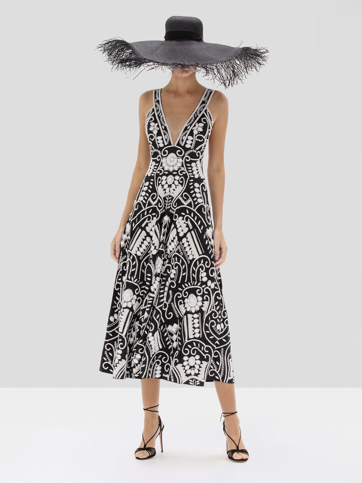 Alexis Brigida Dress in Black and White Embroidery from the Spring Summer 2020 Collection