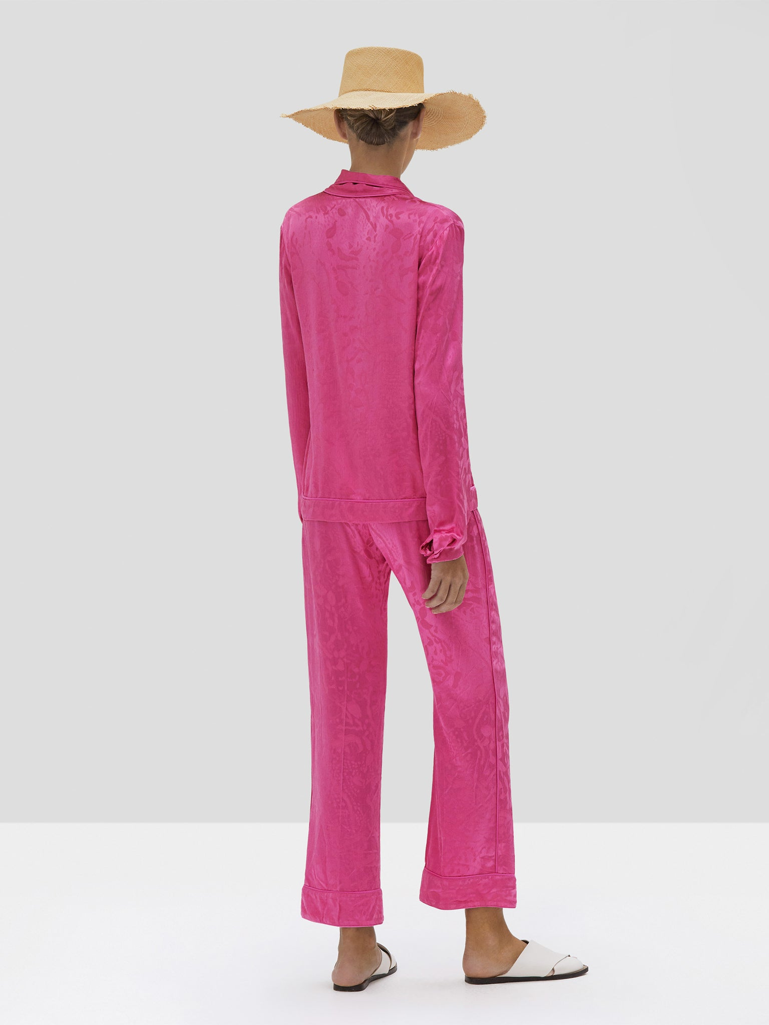 Alexis Cadi Top and Desna Pant in Vivid Fuschia from Spring Summer 2020 - Rear View