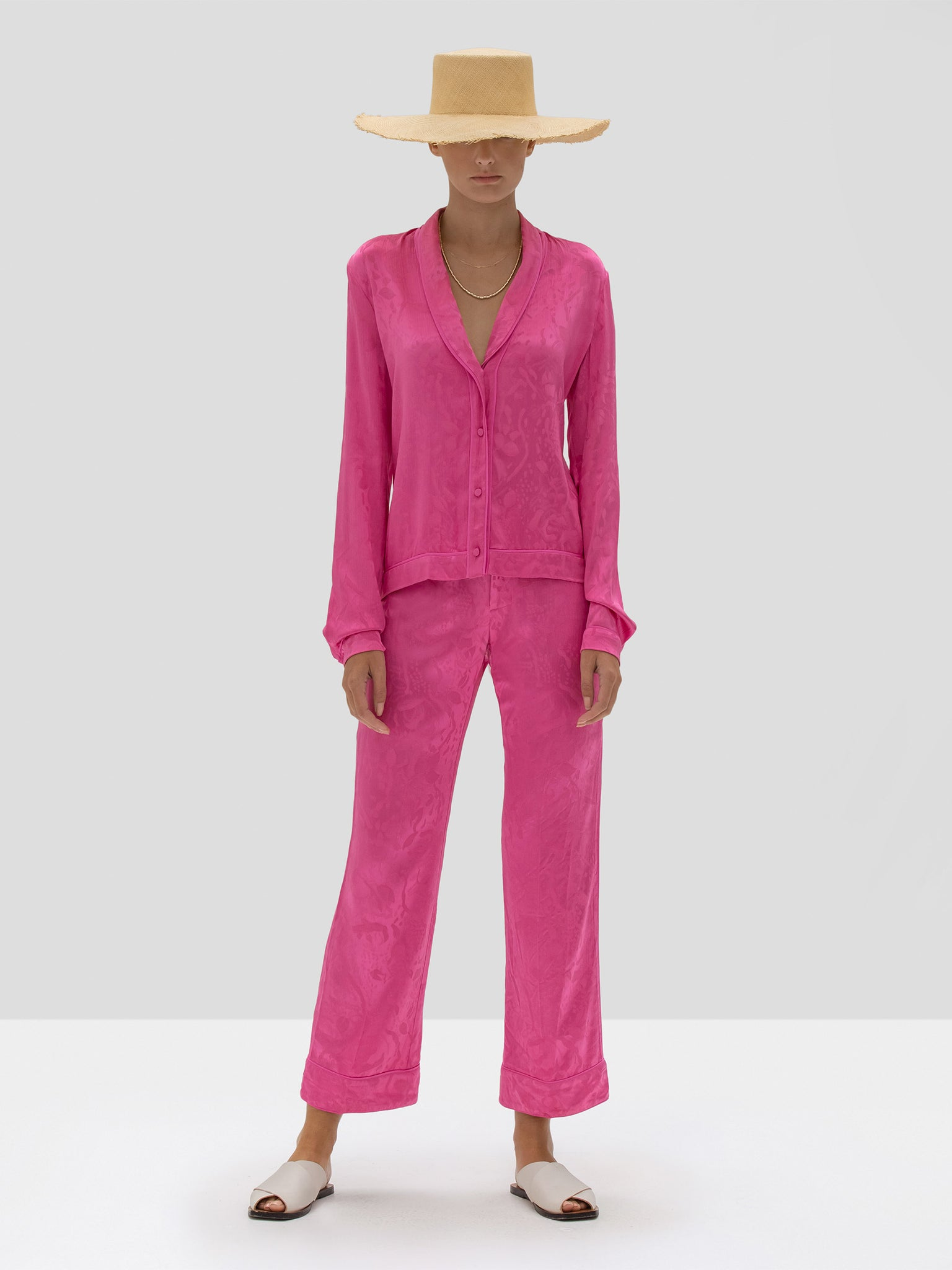 Alexis Cadi Top and Desna Pant in Vivid Fuschia from Spring Summer 2020