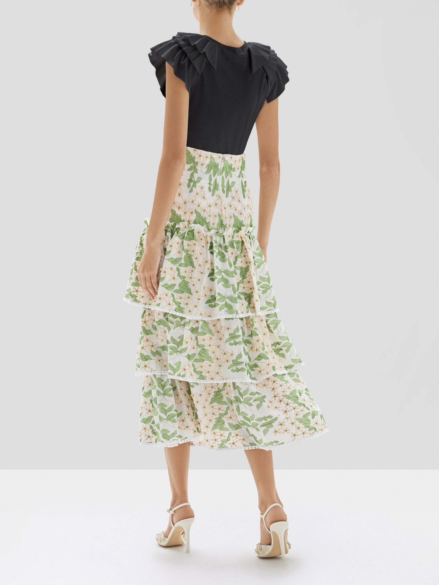 Alexis Cassis Top in Black and Aditya Skirt in Green Embroidery from the Pre Spring 2020 Collection - Rear View