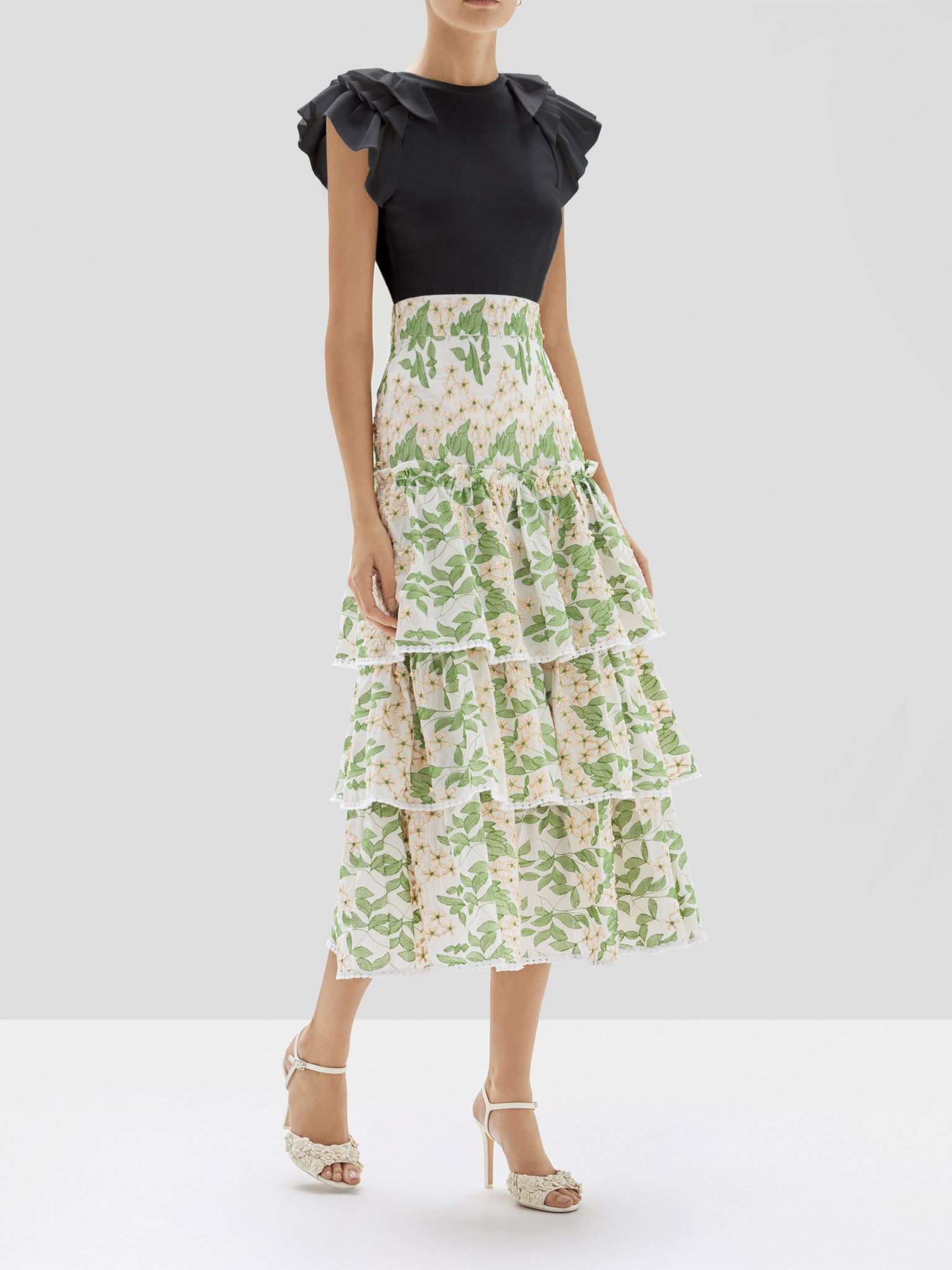 Alexis Cassis Top in Black and Aditya Skirt in Green Embroidery from the Pre Spring 2020 Collection