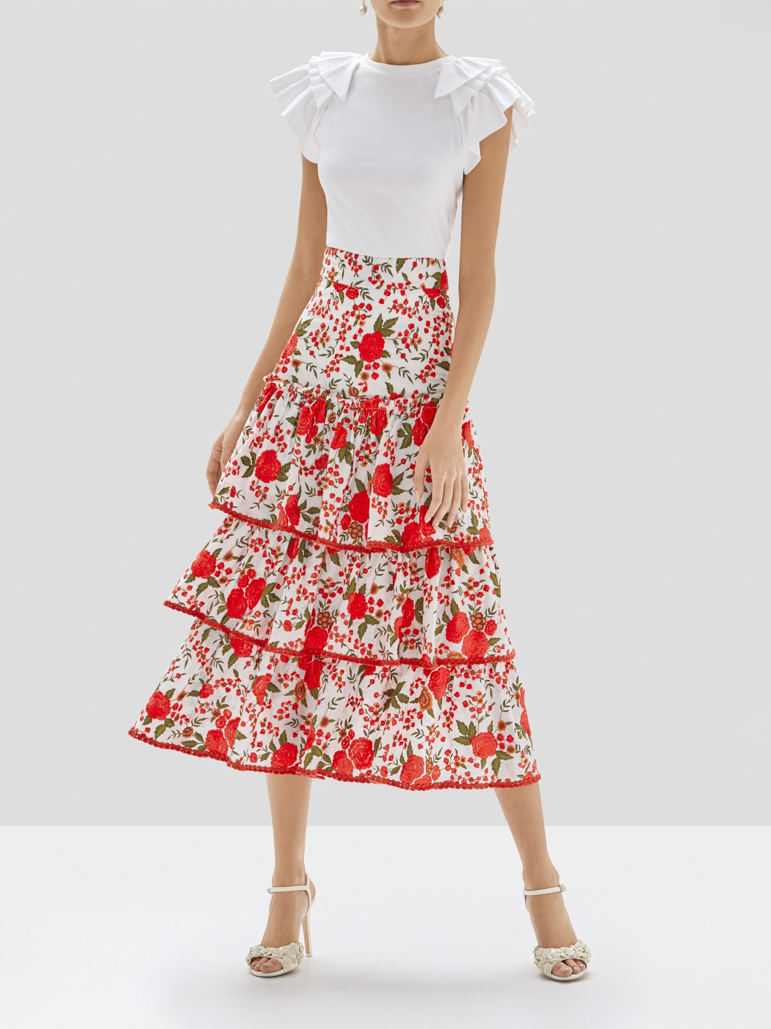 Alexis Cassis Top in White and Doretta Skirt in Rose Embroidery from Pre Spring 2020 Collection