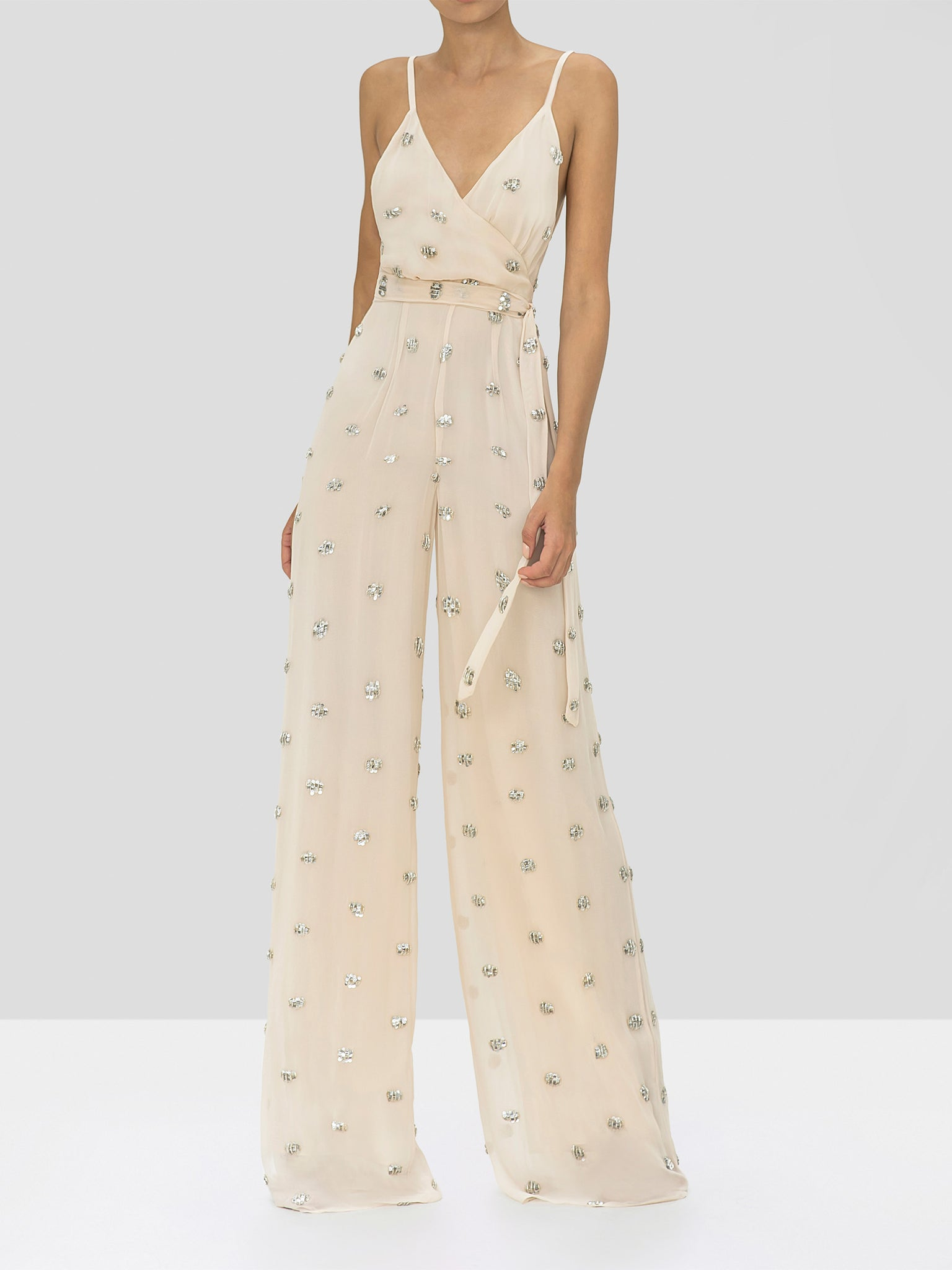 Alexis Cosmina Jumpsuit in Embellished Blush from the Holiday 2019 Ready To Wear Collection