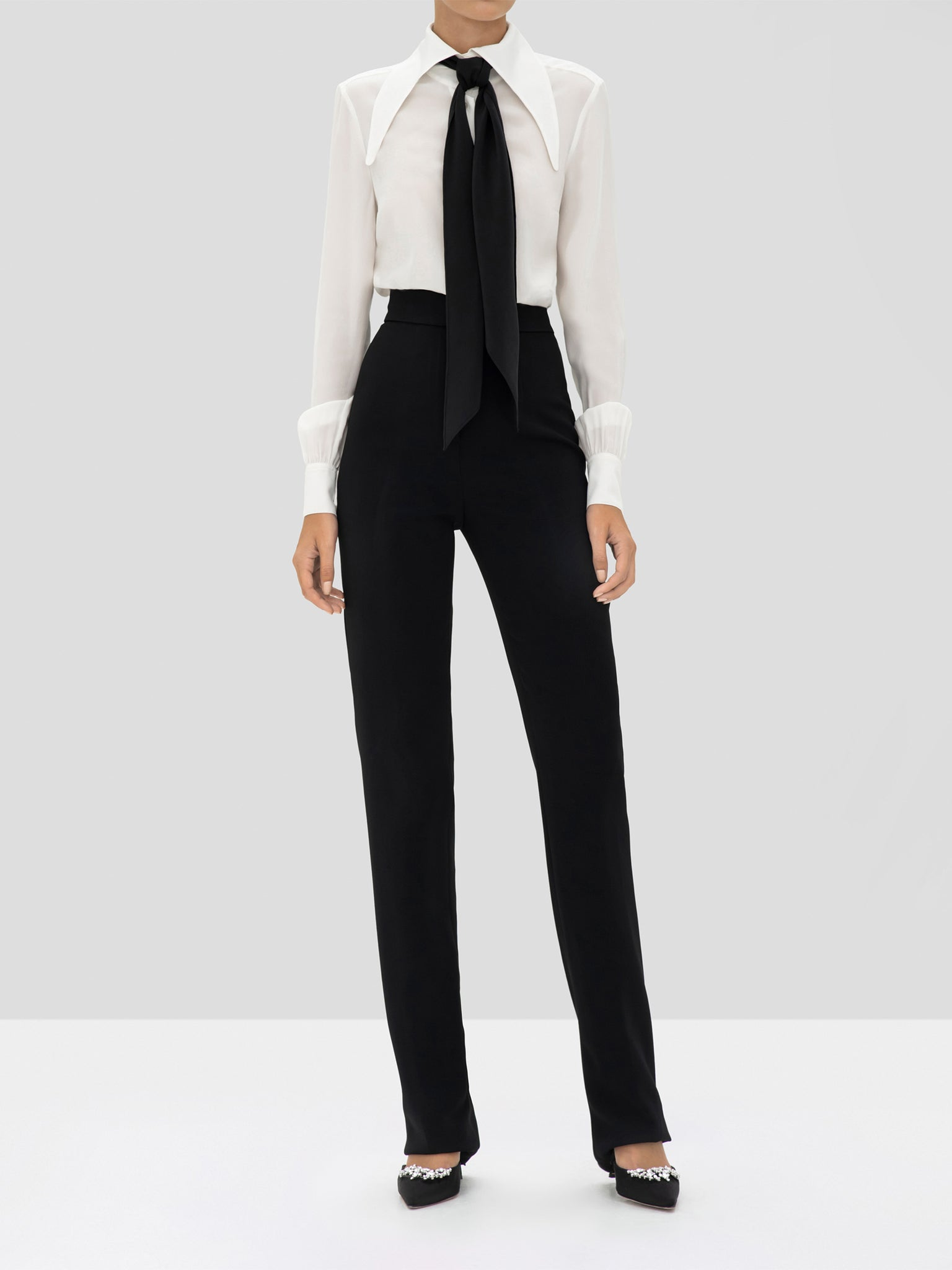 Alexis Crawford Top in Off White and Lofton Pant in Black from the Holiday 2019 Collection