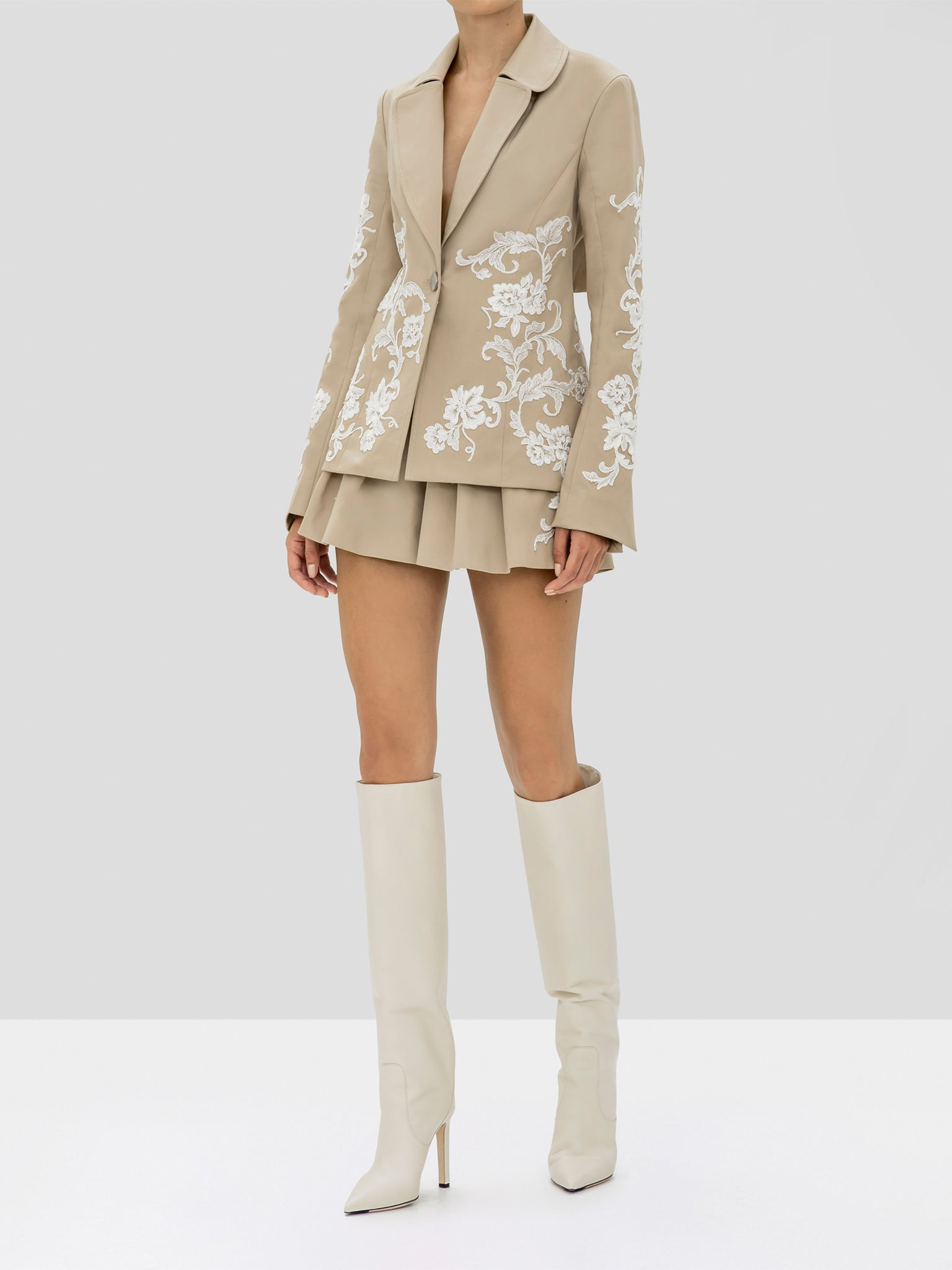Alexis Cyrano Jacket and Gerona Shorts in Tan from the Holiday 2019 Ready To Wear Collection