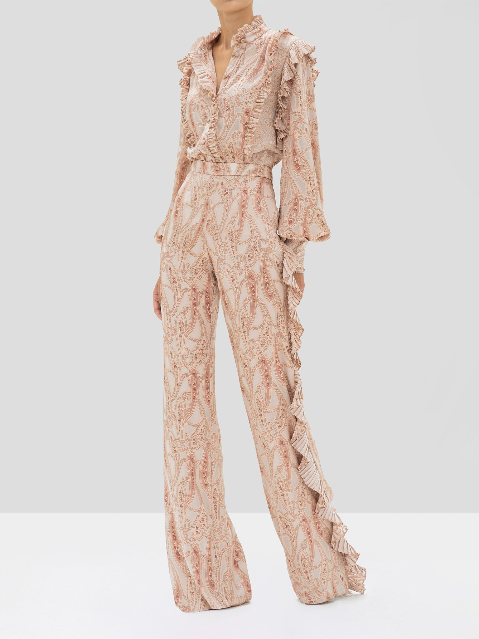 Alexis Eline Top and Izami Pant in Blush Paisley from the Holiday 2019 Ready To Wear Collection