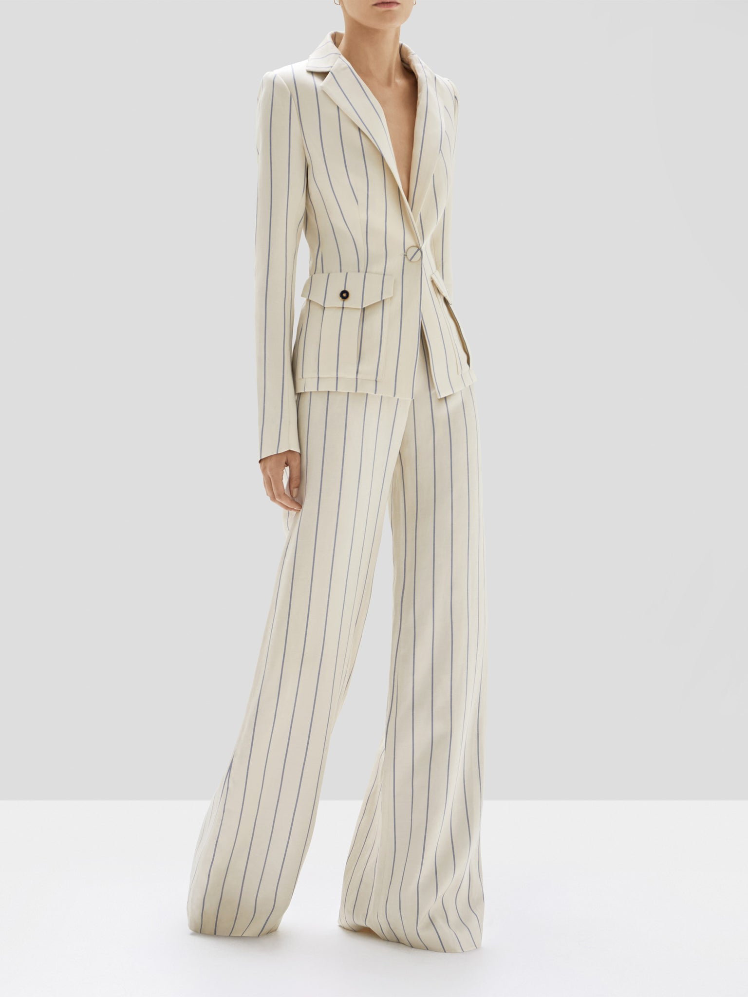 Alexis Enos Jacket and Dixon Pant in Blue Stripes from Pre Spring 2020 Collection
