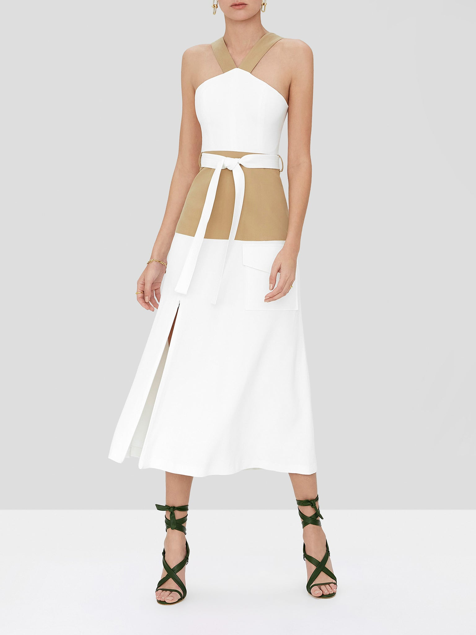 erina dress in tan/ white
