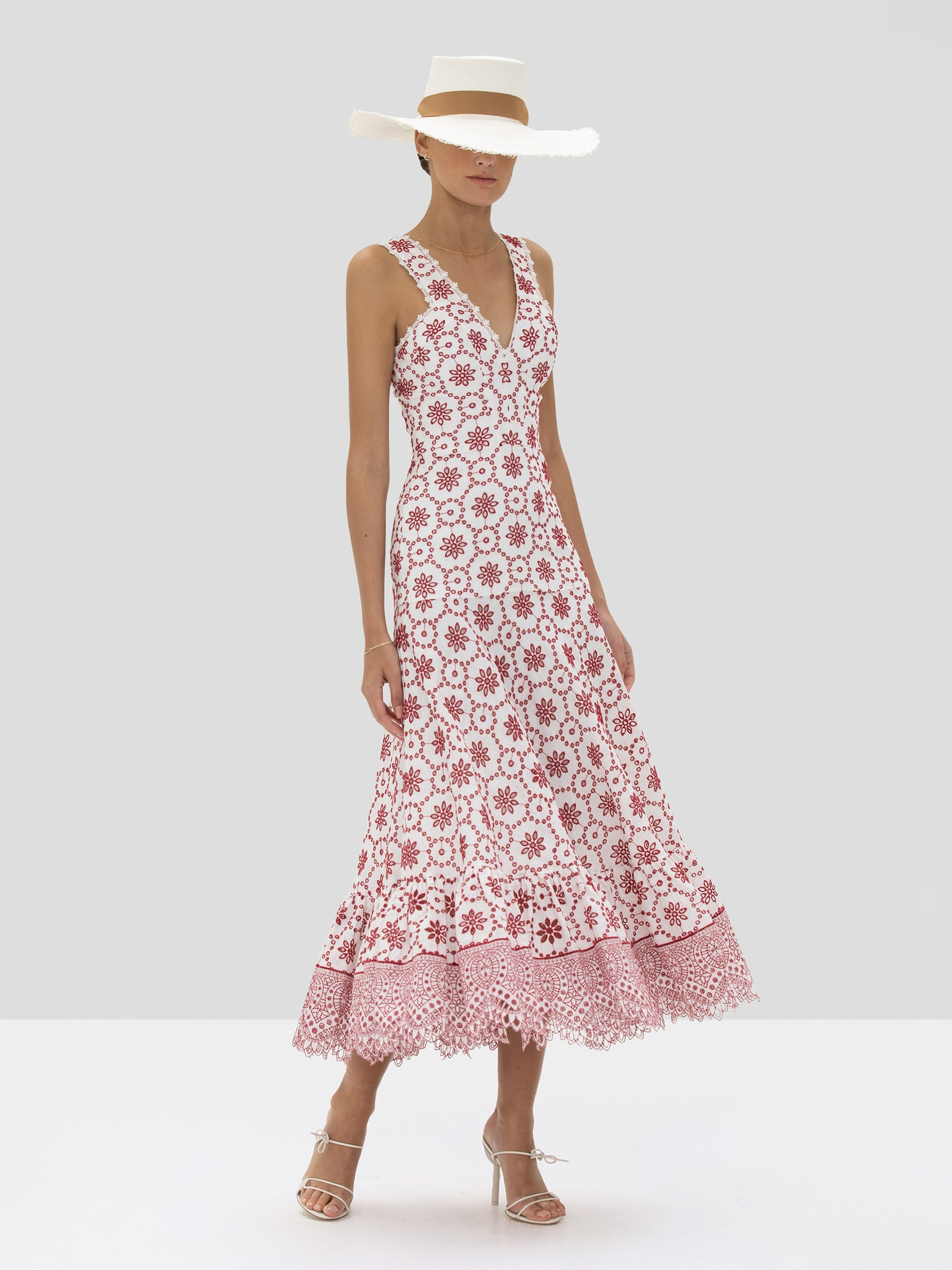 Alexis Eugenia Dress in Berry Eyelet Embroidery from Spring Summer 2020