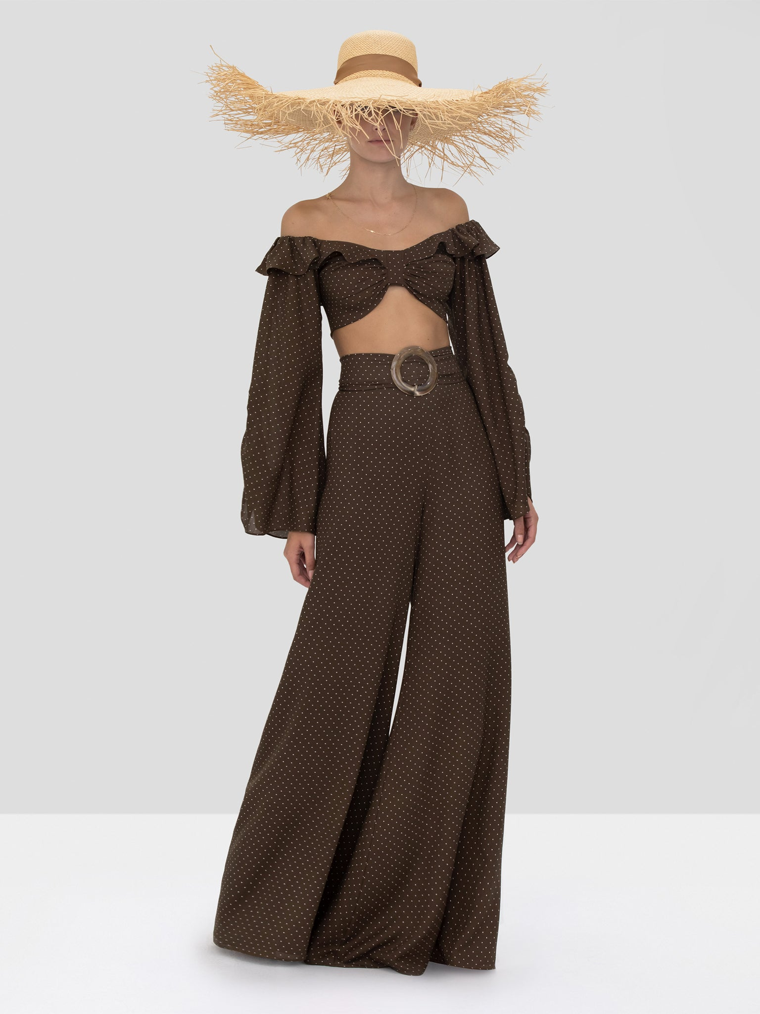 Alexis Antonin Pant and Ewa Crop Top in Mocha Dot Linen from the Spring Summer 2020 Collection