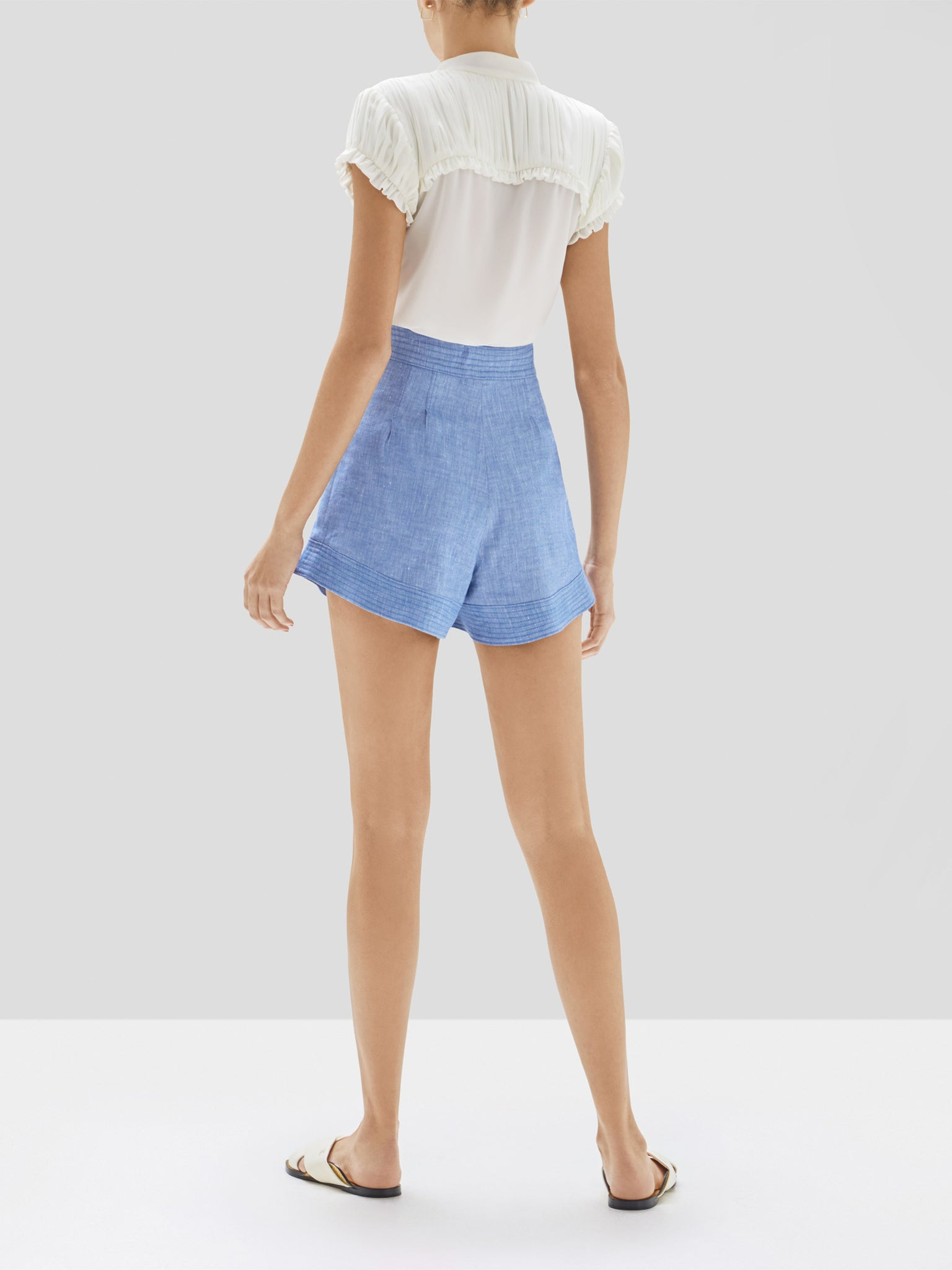 Alexis Fabien Top in White and Garwen Short in Light Blue from Pre Fall 2020 Collection - Rear View