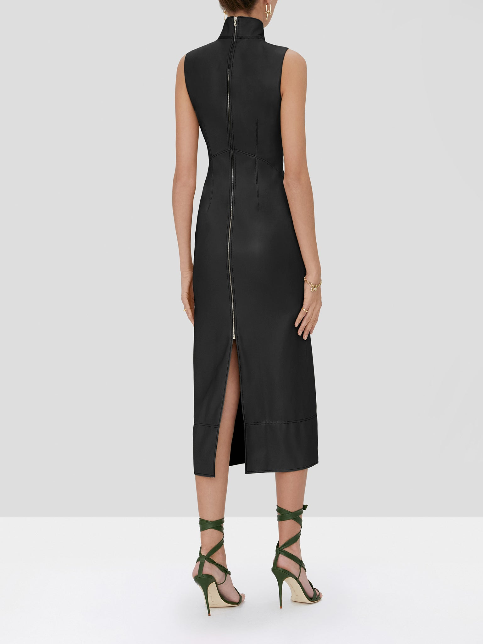 Farrah Vegan Leather Dress - Rear View