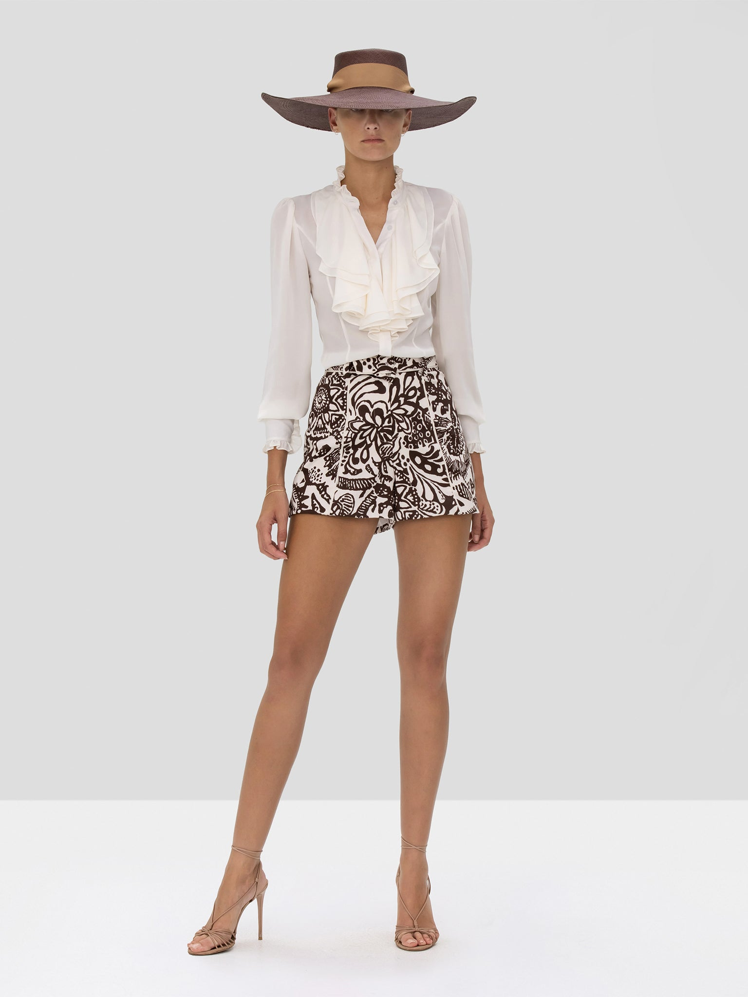 Alexis Ferdinand Top in Ivory and Lew Short in Tropical Brown from Spring Summer 2020 Collection