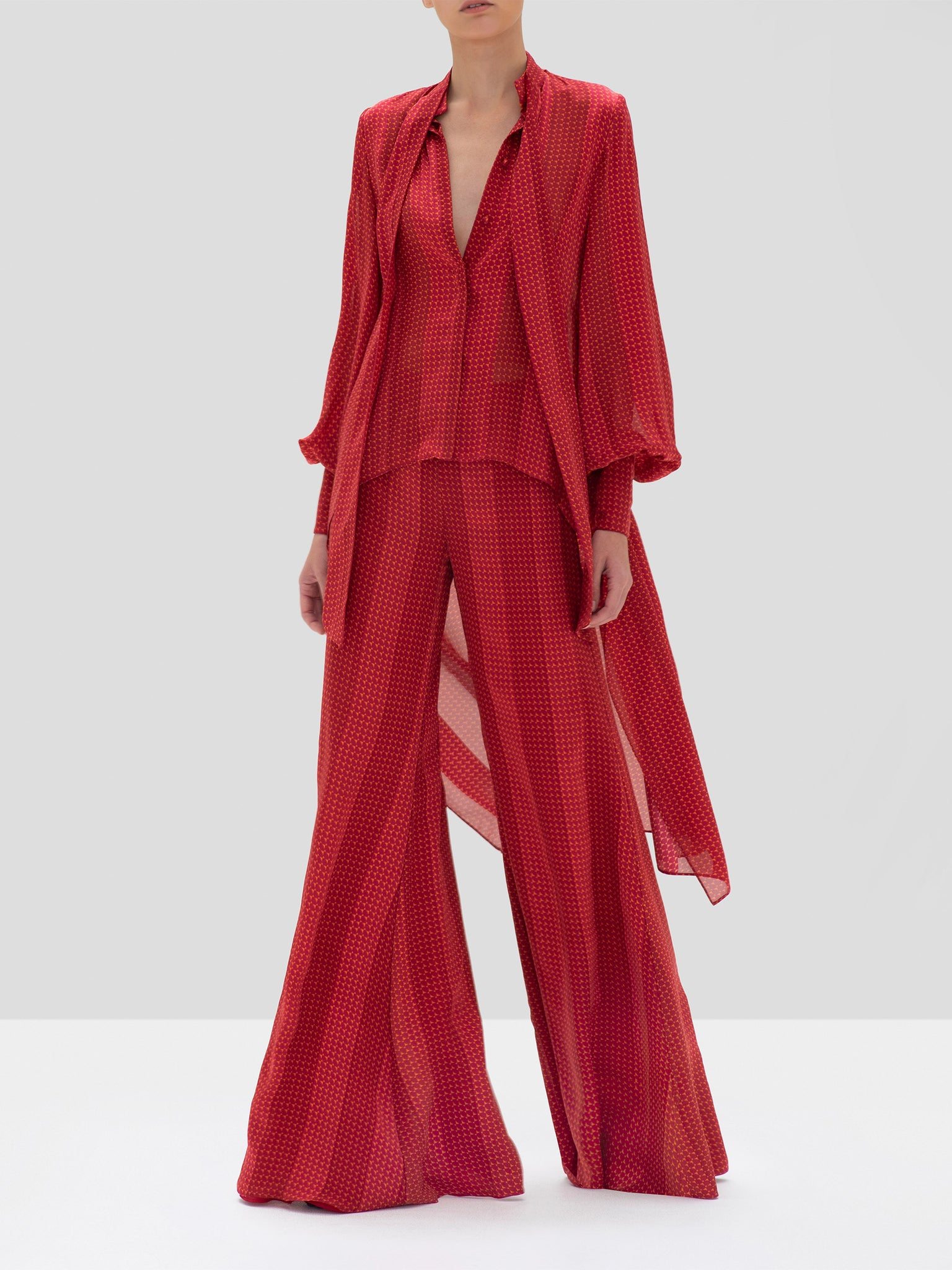 Alexis Fidelis Top and Sanjit Pants in Red Geo Stripes from the Fall Winter 2019 Collection