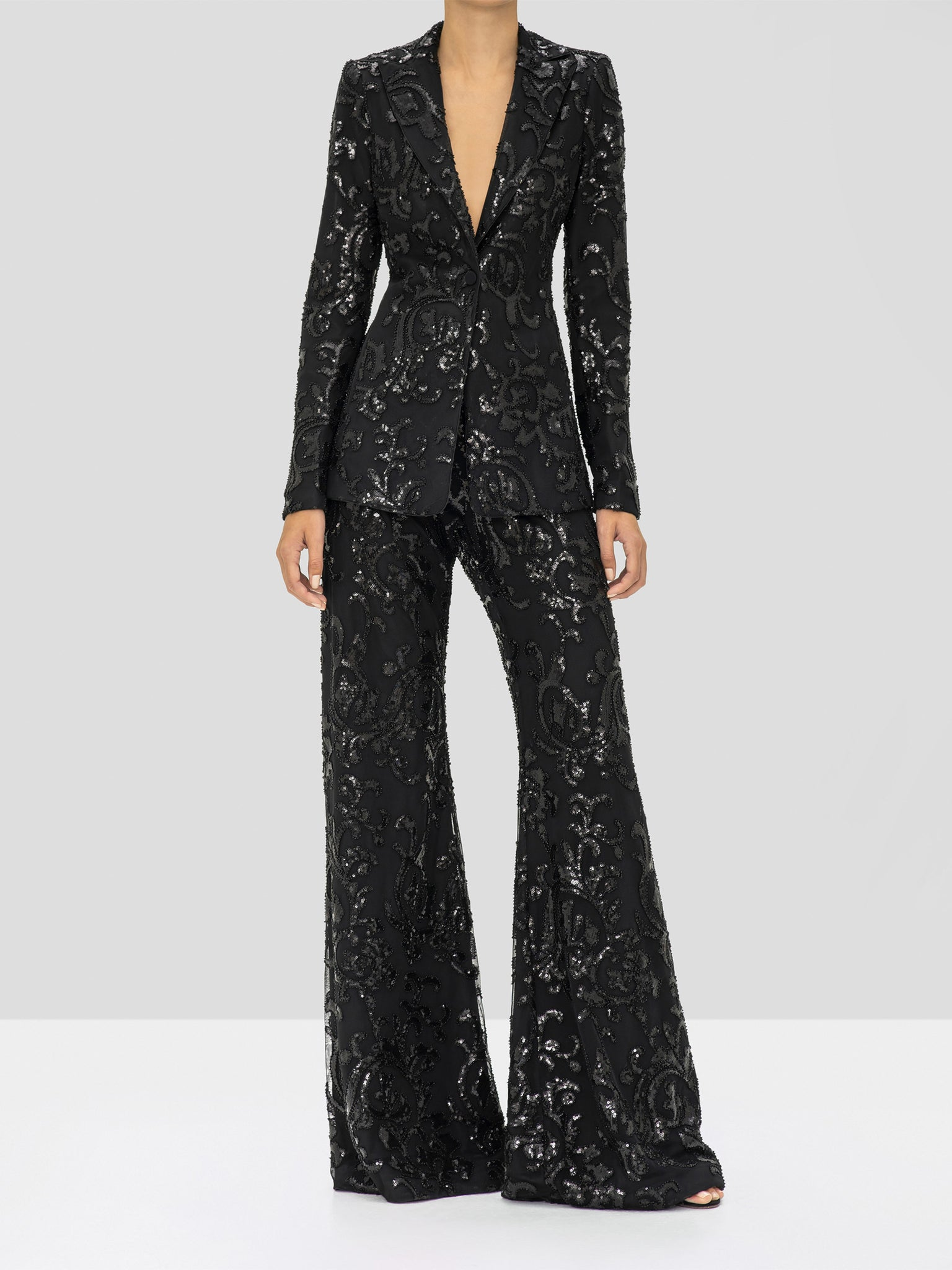 Alexis Firdas Jacket and Silvestro Pant in Beaded Black from the Holiday 2019 Collection
