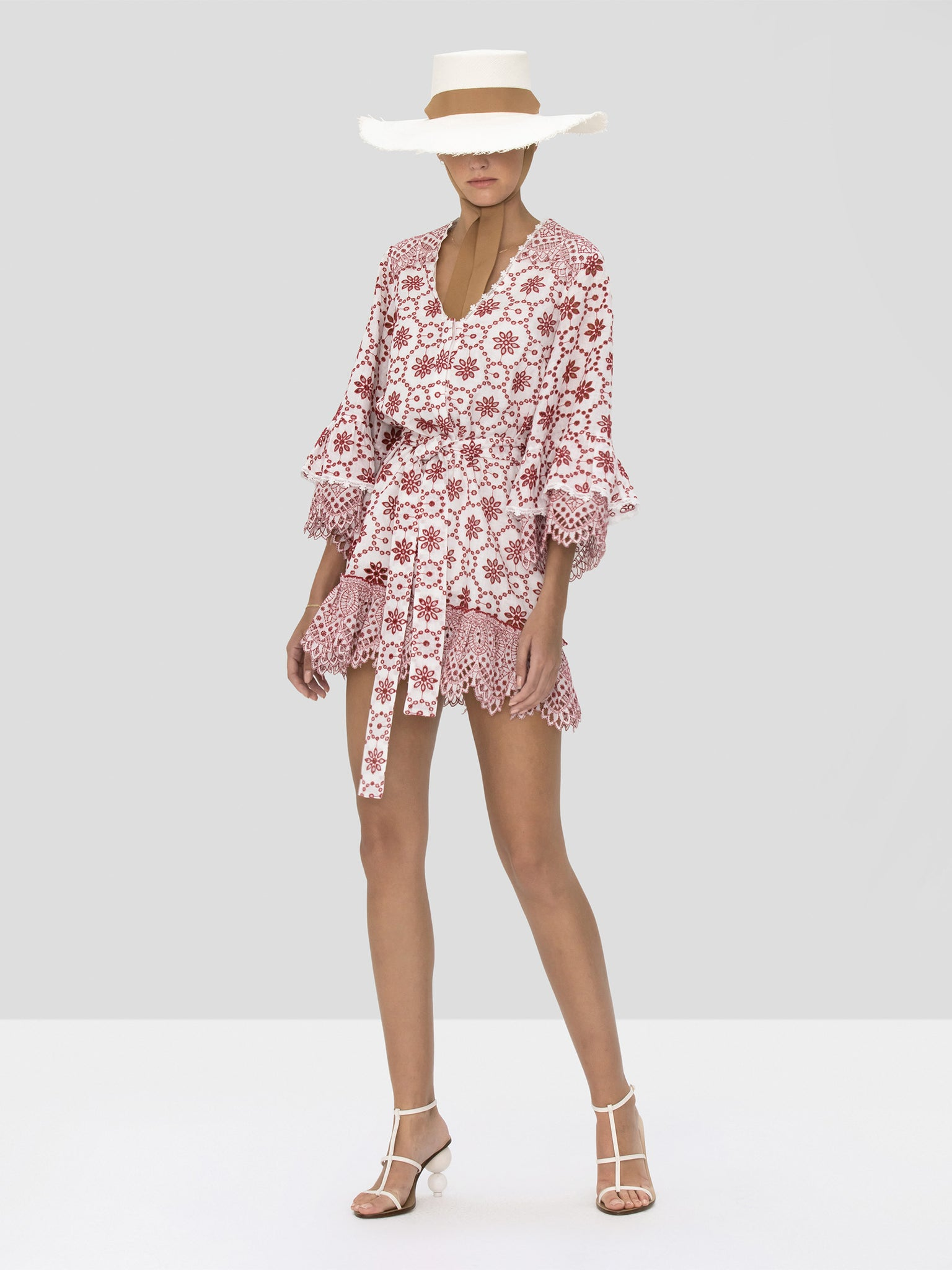 Alexis Gladys Dress in Berry Eyelet Embroidery from Spring Summer 2020