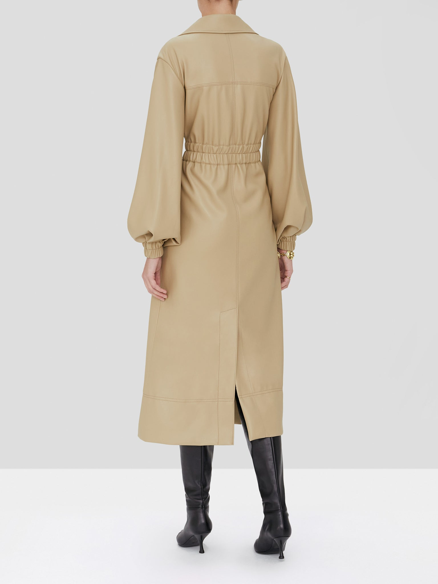hunter vegan leather trench coat in taupe - Rear View