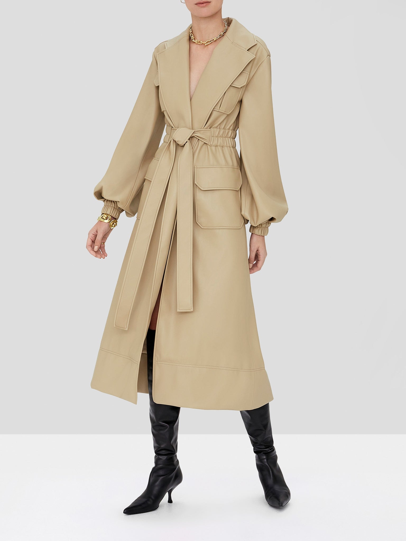 hunter vegan leather trench coat in taupe