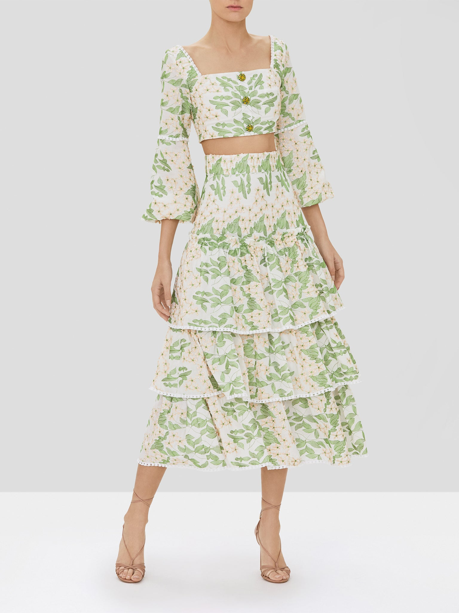 Alexis Ikala Top and Aditya Skirt in Green Embroidery from our Pre-Spring 2020 Ready To Wear Collection