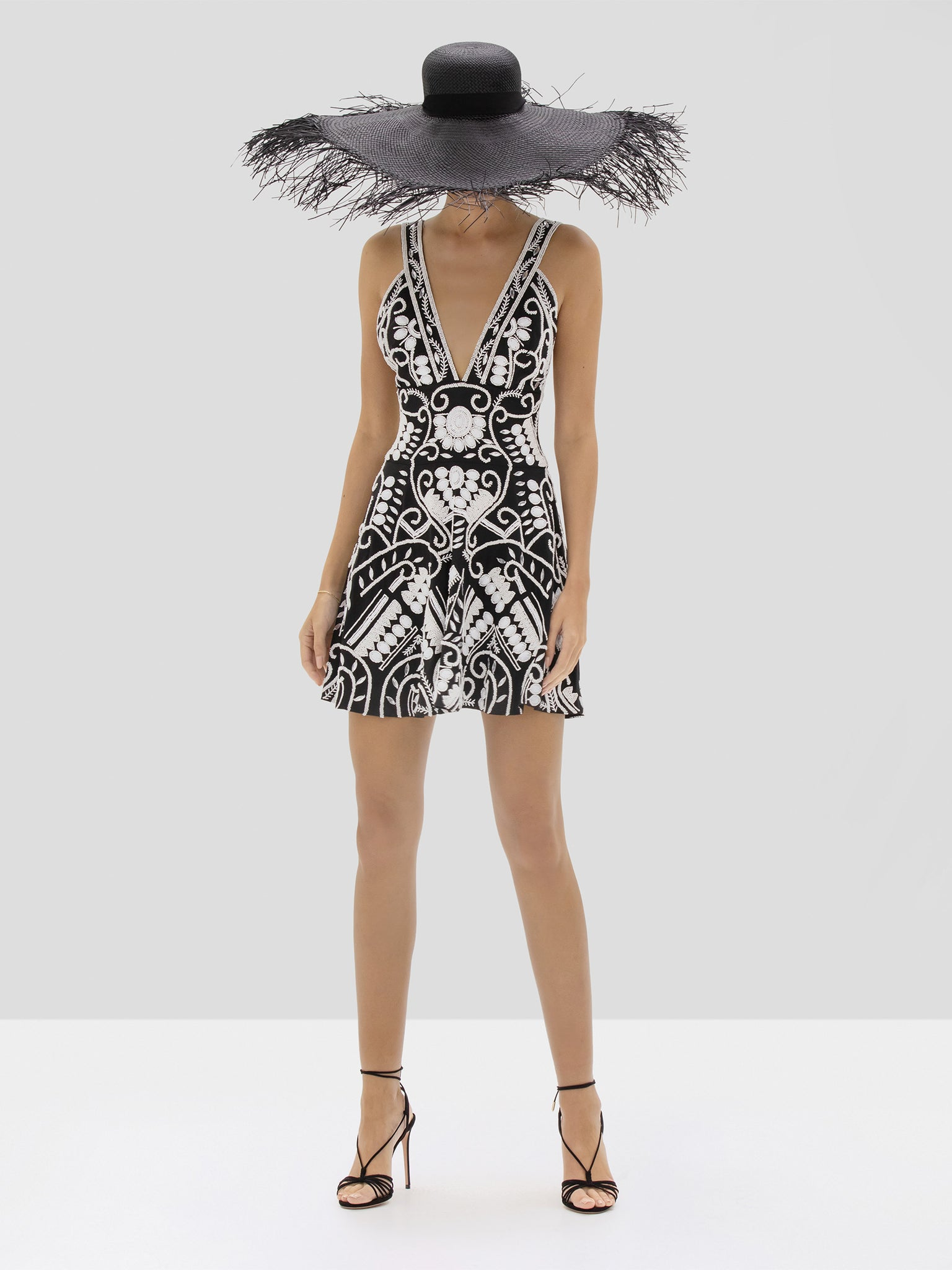 Alexis Jerza Dress in Black and White Embroidery from the Spring Summer 2020 Collection