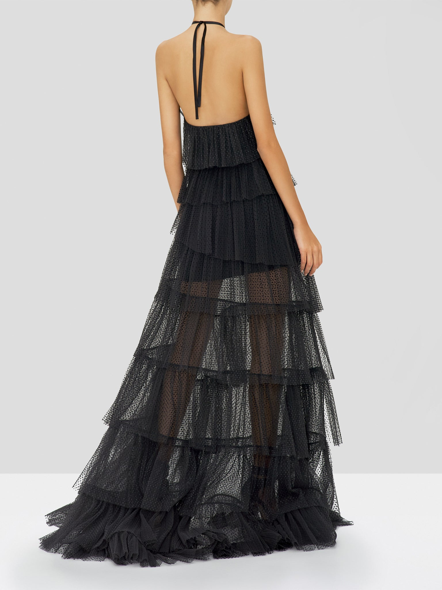 Alexis Justinia Dress in Black from the Holiday 2019 Ready To Wear Collection - Rear View