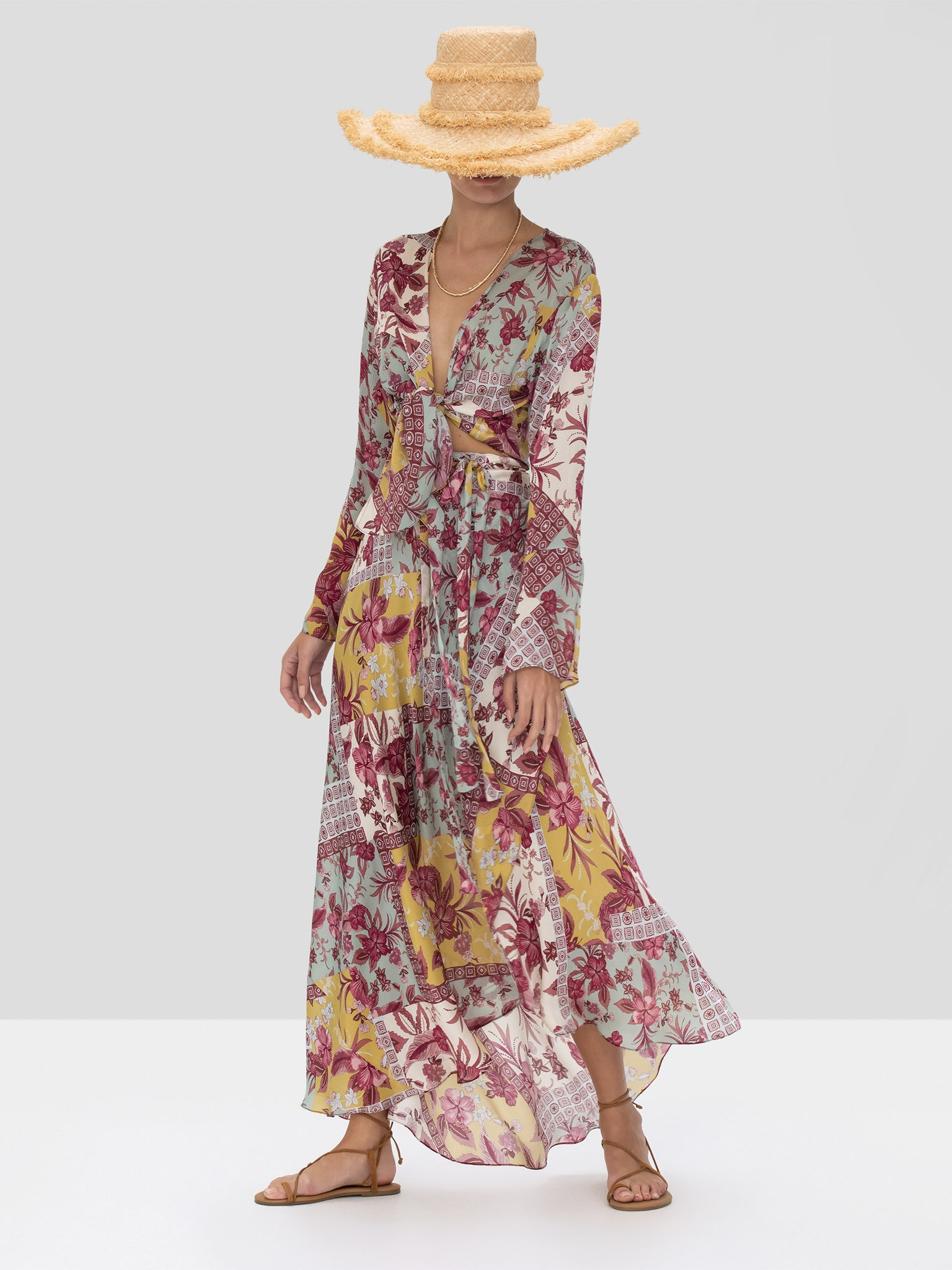 Alexis Kalindi Top and Elora Skirt in Berry Foulard from the Spring Summer 2020 Collection