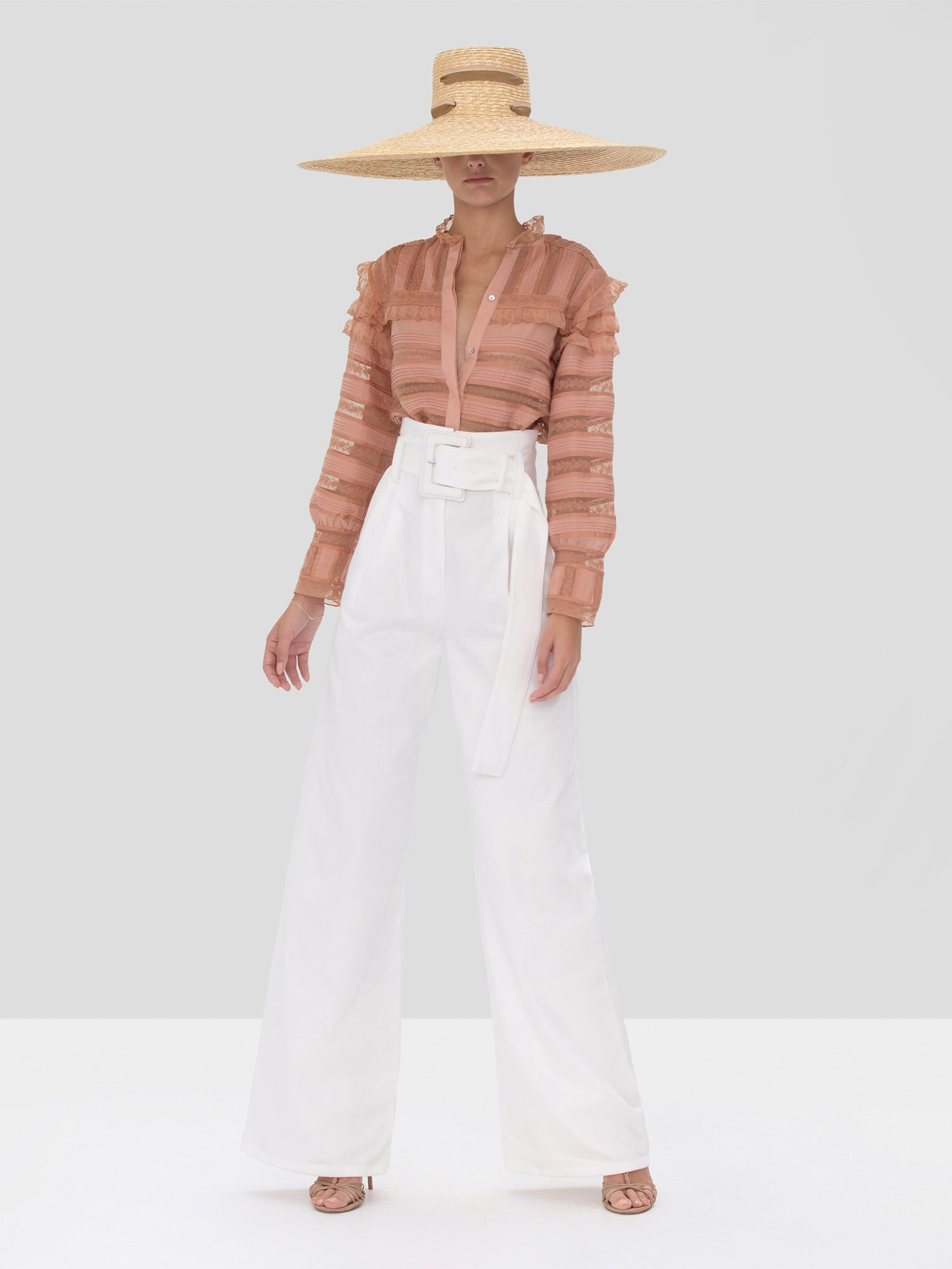 Alexis Karsyn Top in Coral and Kanneth Pant in White from Spring Summer 2020 Collection