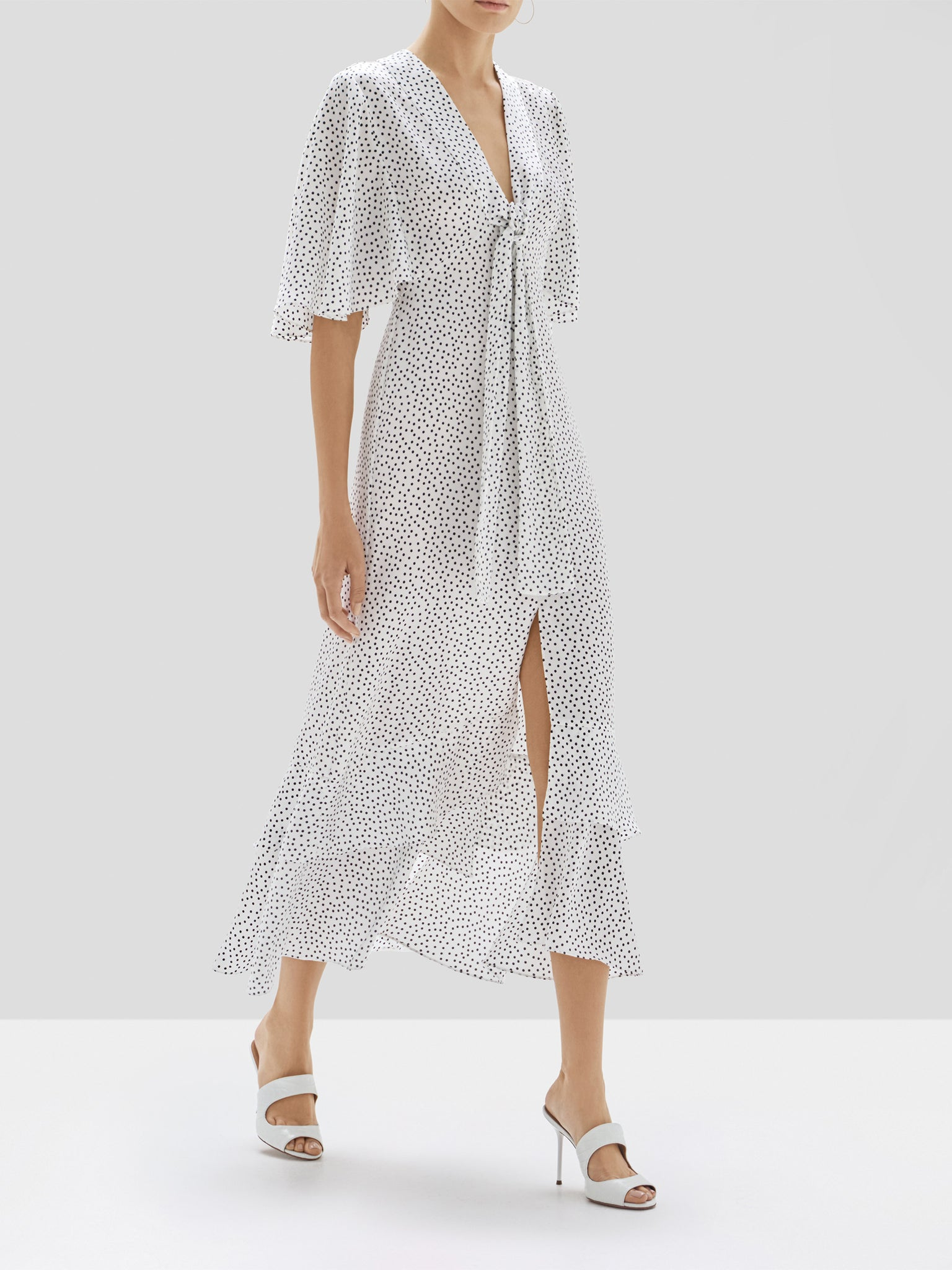Alexis Kasany Dress in White and Black Dot from the Pre Spring 2020 Collection