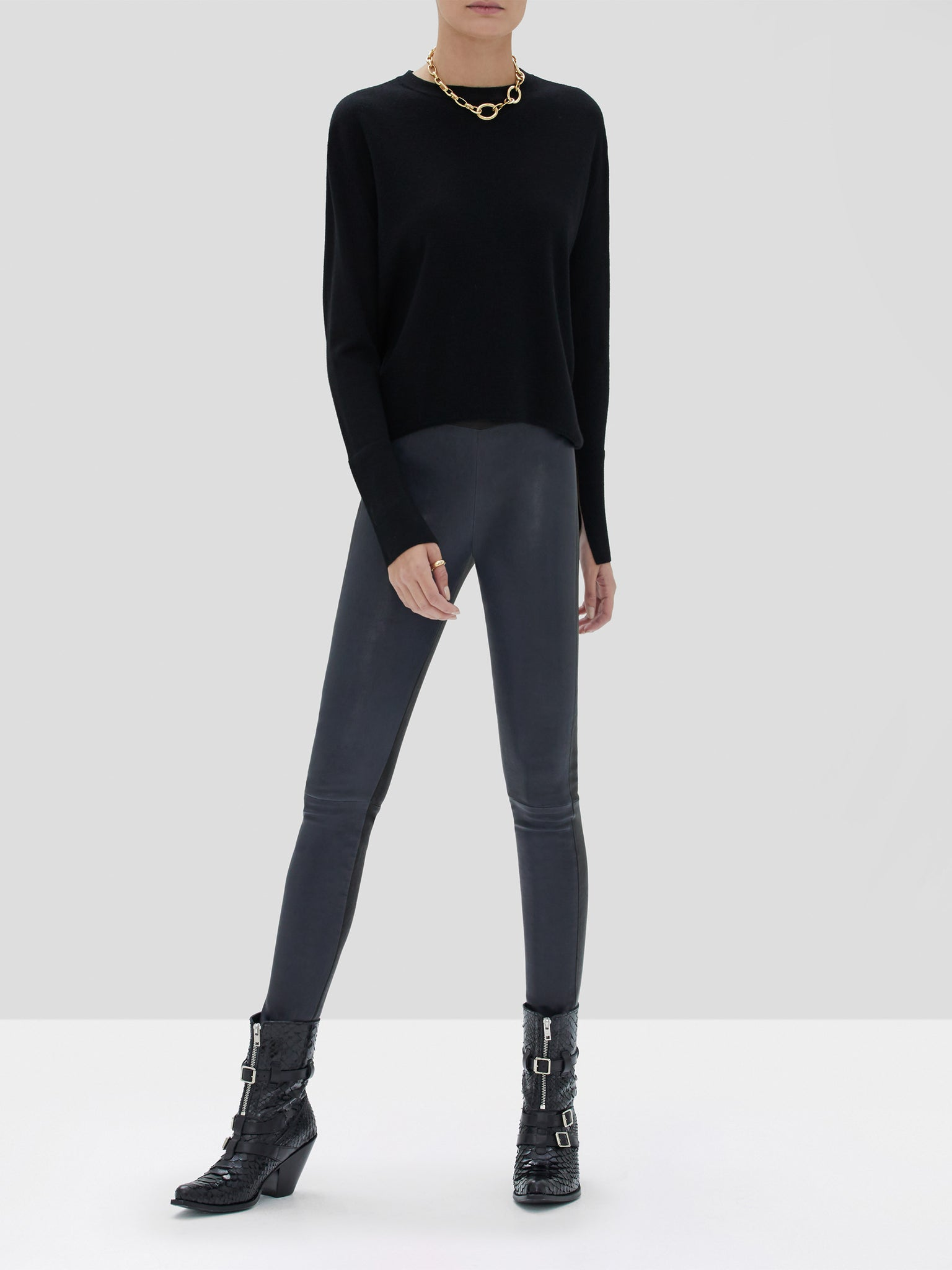 Alexis Katiana Sweater in Black Boyd Leather Pant in Blue Black from the Fall Winter 2019 Collection