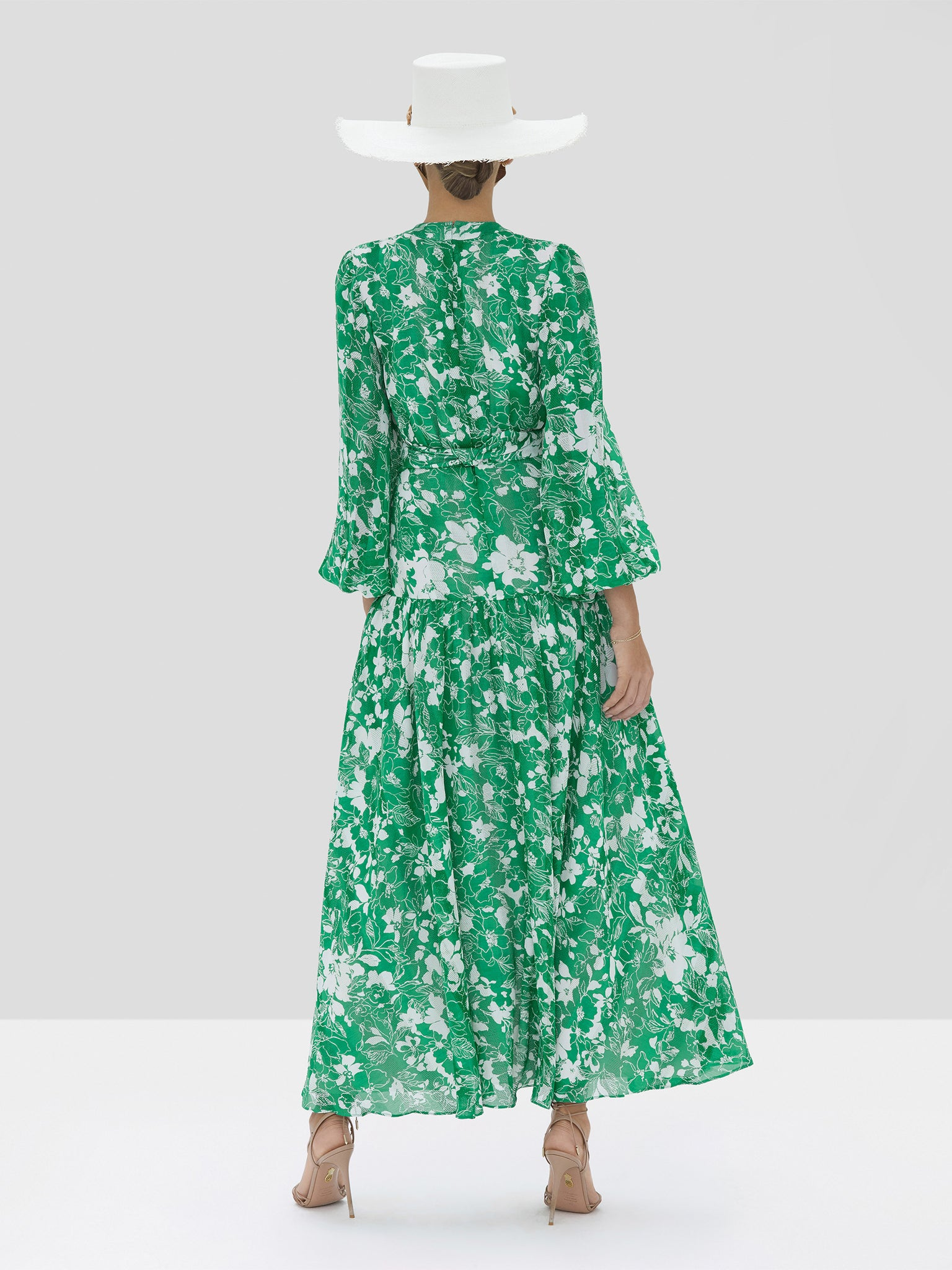kazmera dress in emerald foral - Rear View
