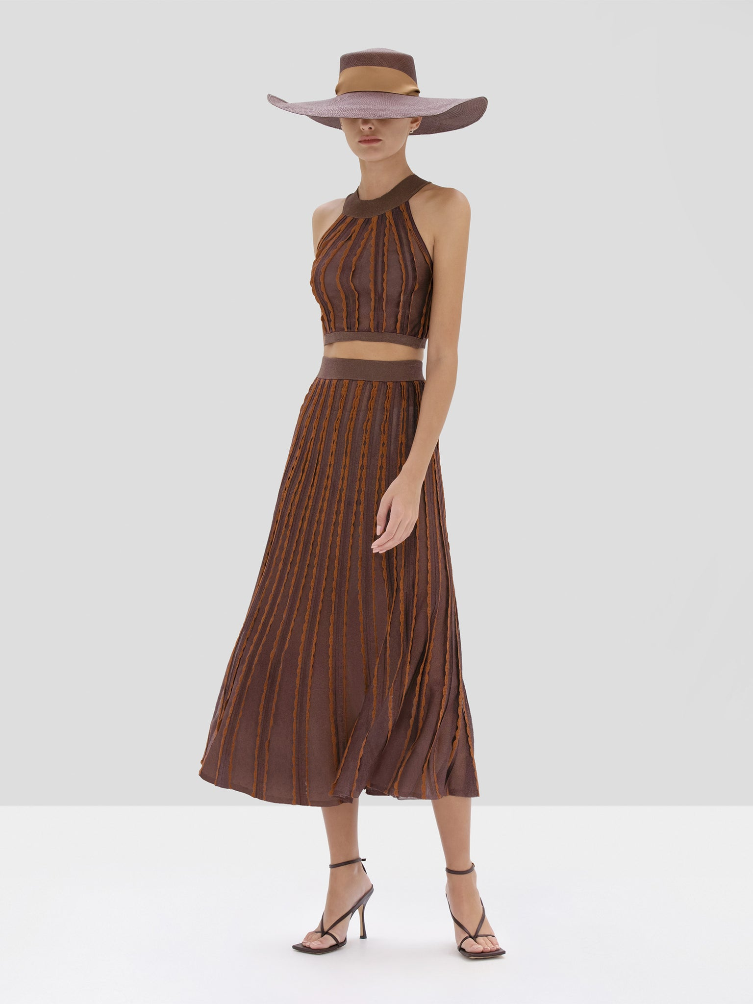 Alexis Keva Crop Top and Zea Skirt in Mocha from Spring Summer 2020 Collection