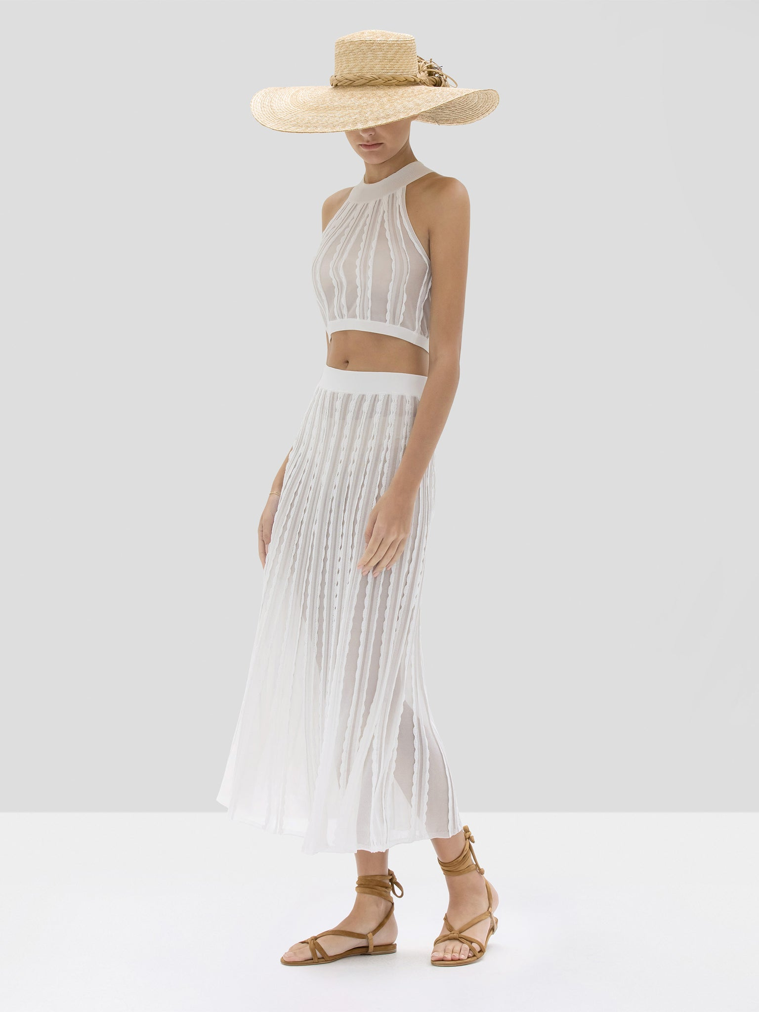 Alexis Keva Crop Top and Zea Skirt in White from Spring Summer 2020 Collection