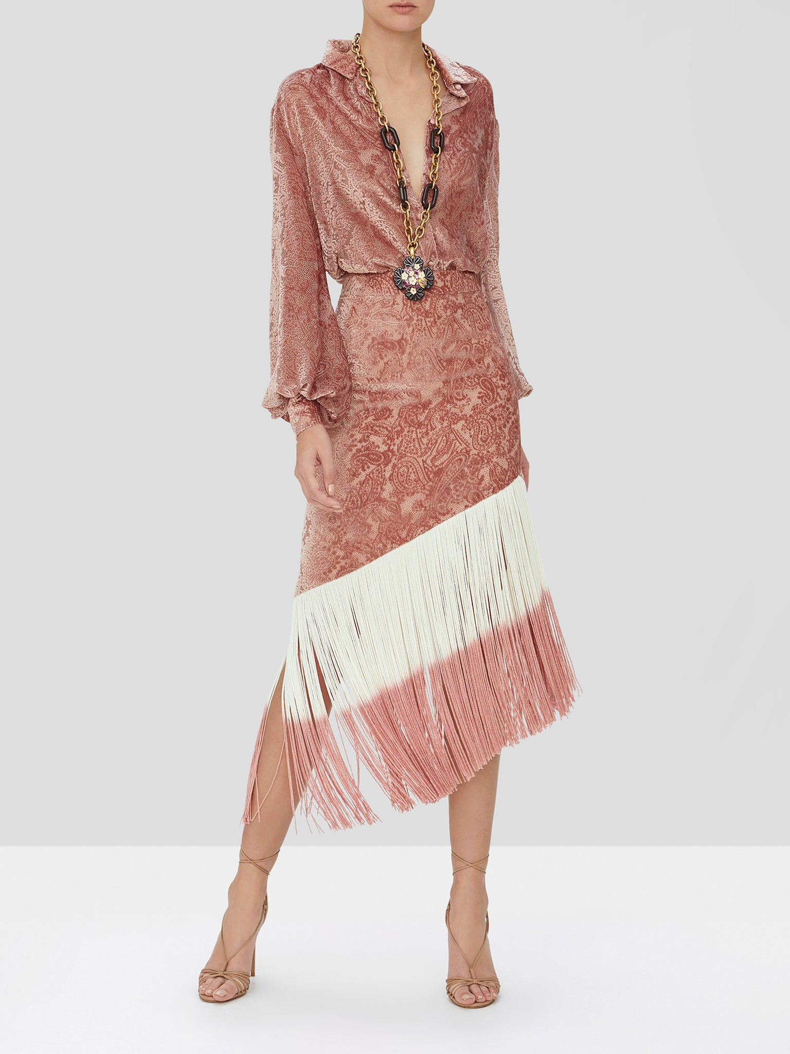 sevier skirt in blush velvet
