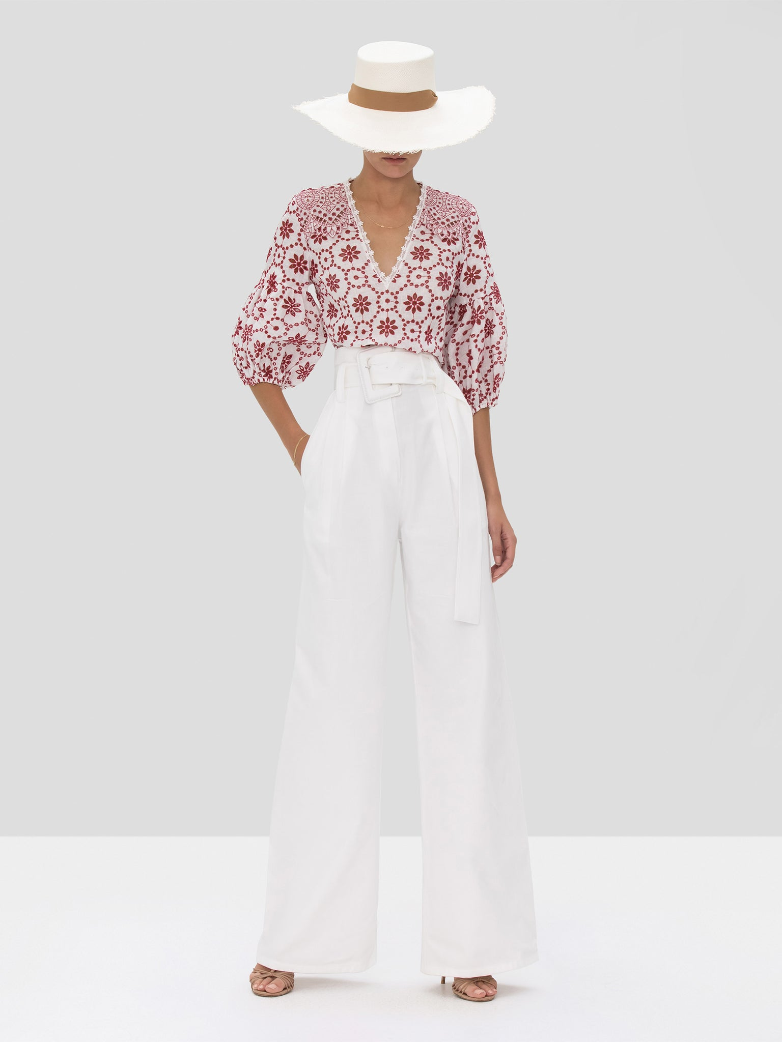The Lanai Top in Berry Eyelet Embroidery from the Spring Summer 2020 Ready To Wear Collection