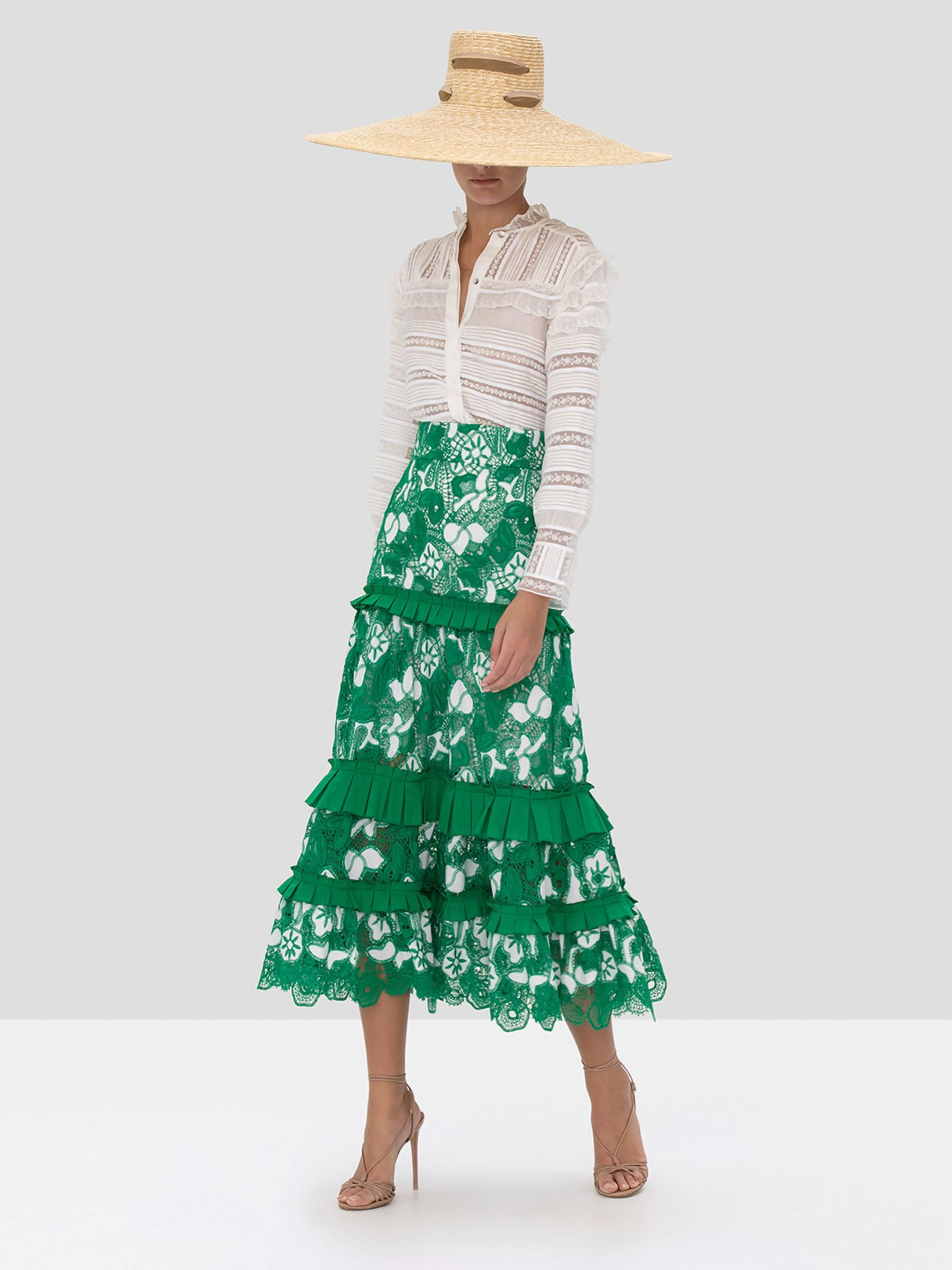 Alexis Marsa Skirt in Emerald Embroidered Lace from Spring Summer 2020 Collection