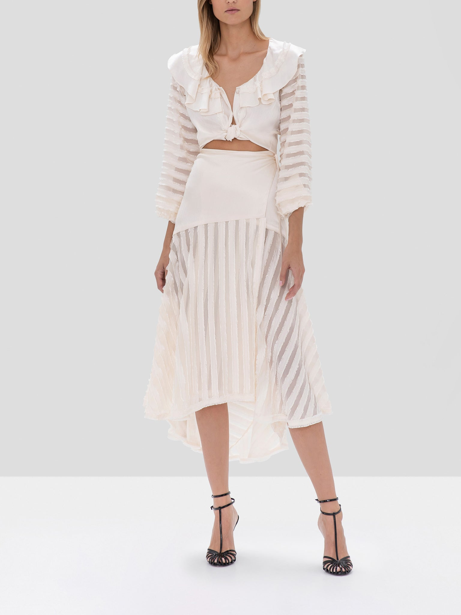 Alexis Melata Top and Danos Skirt in Off White from the Fall Winter 2019 Ready To Wear Collection