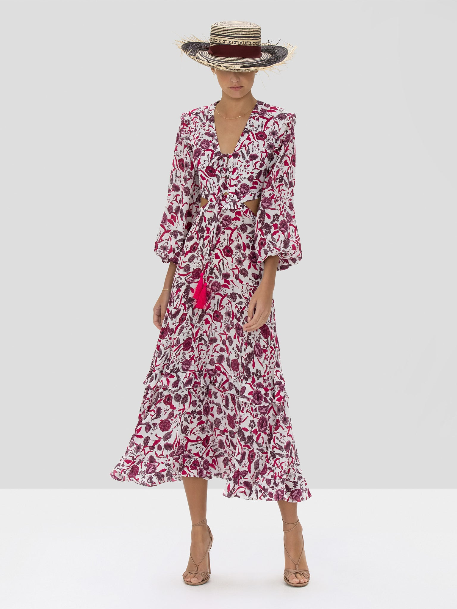 The Nakkita Dress in Berry Floral from the Spring Summer 2020
