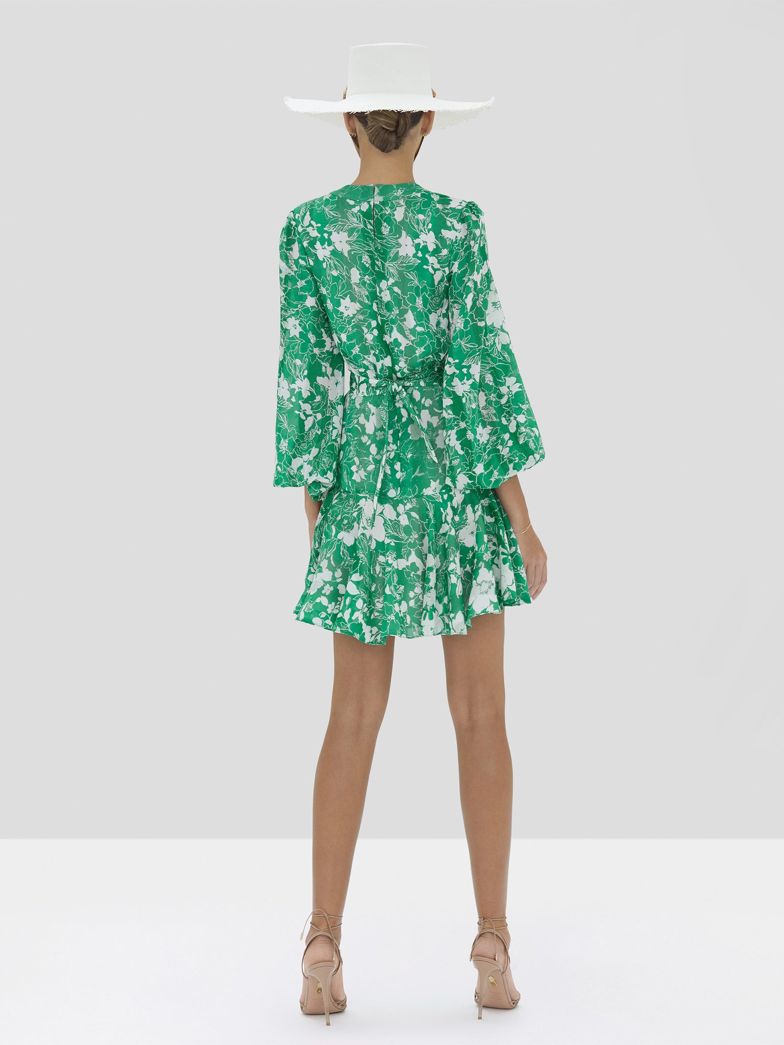The Neala Dress in Emerald Floral from the Spring Summer 2020 Ready To Wear Collection. - Rear View