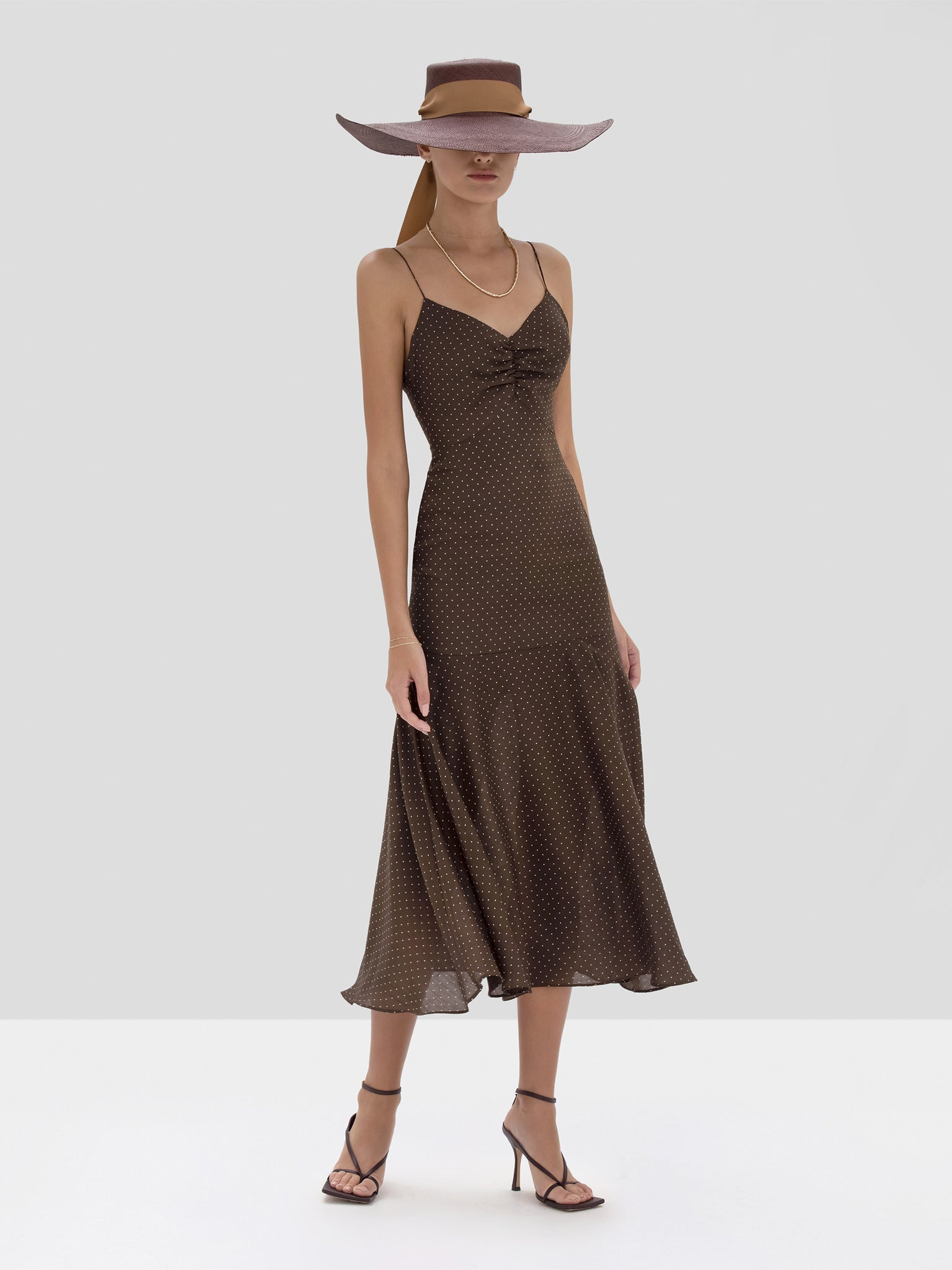 Alexis Nizarra Dress in Mocha Dot Linen from the Spring Summer 2020 Collection