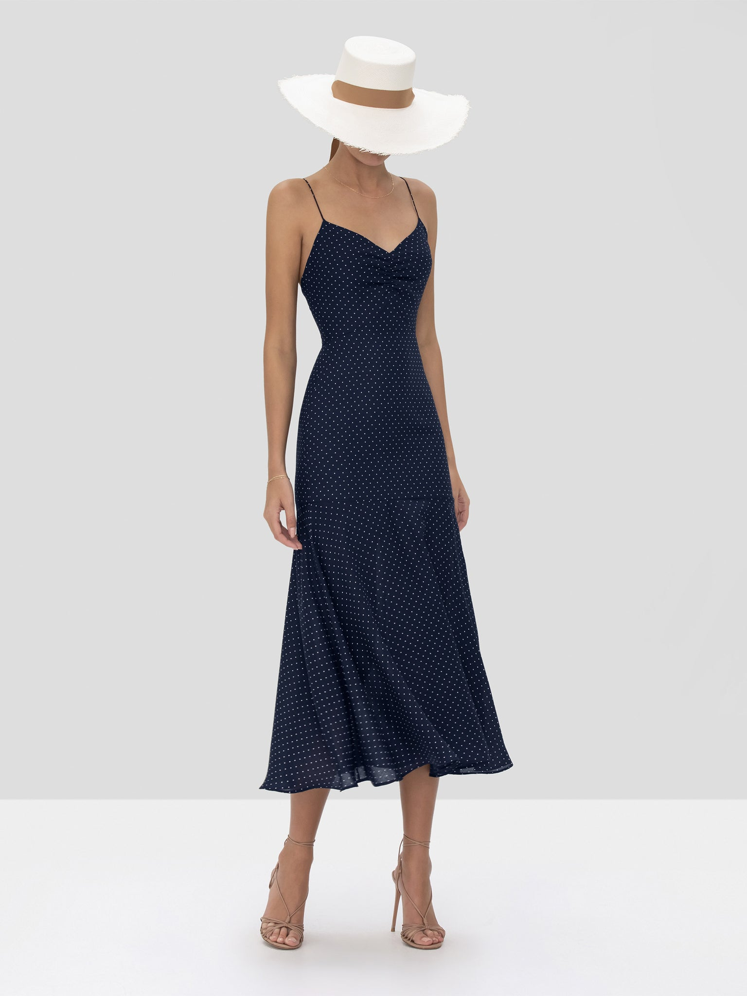 Alexis Nizarra Dress in Navy Dot Linen from the Spring Summer 2020 Collection
