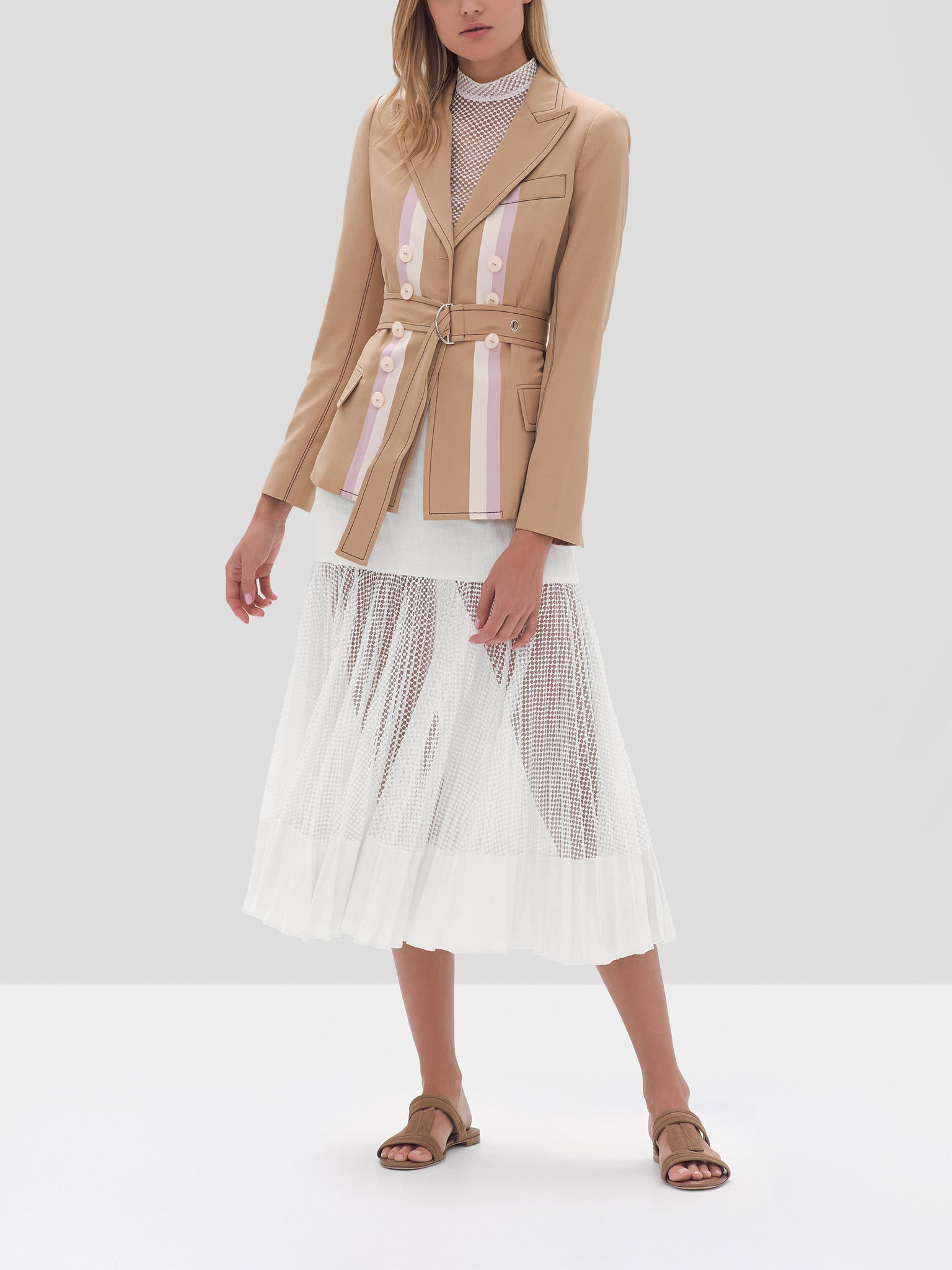 Alexis Nourdine Blazer in Striped Tan, Wera Top in White, Bartley Skirt in White