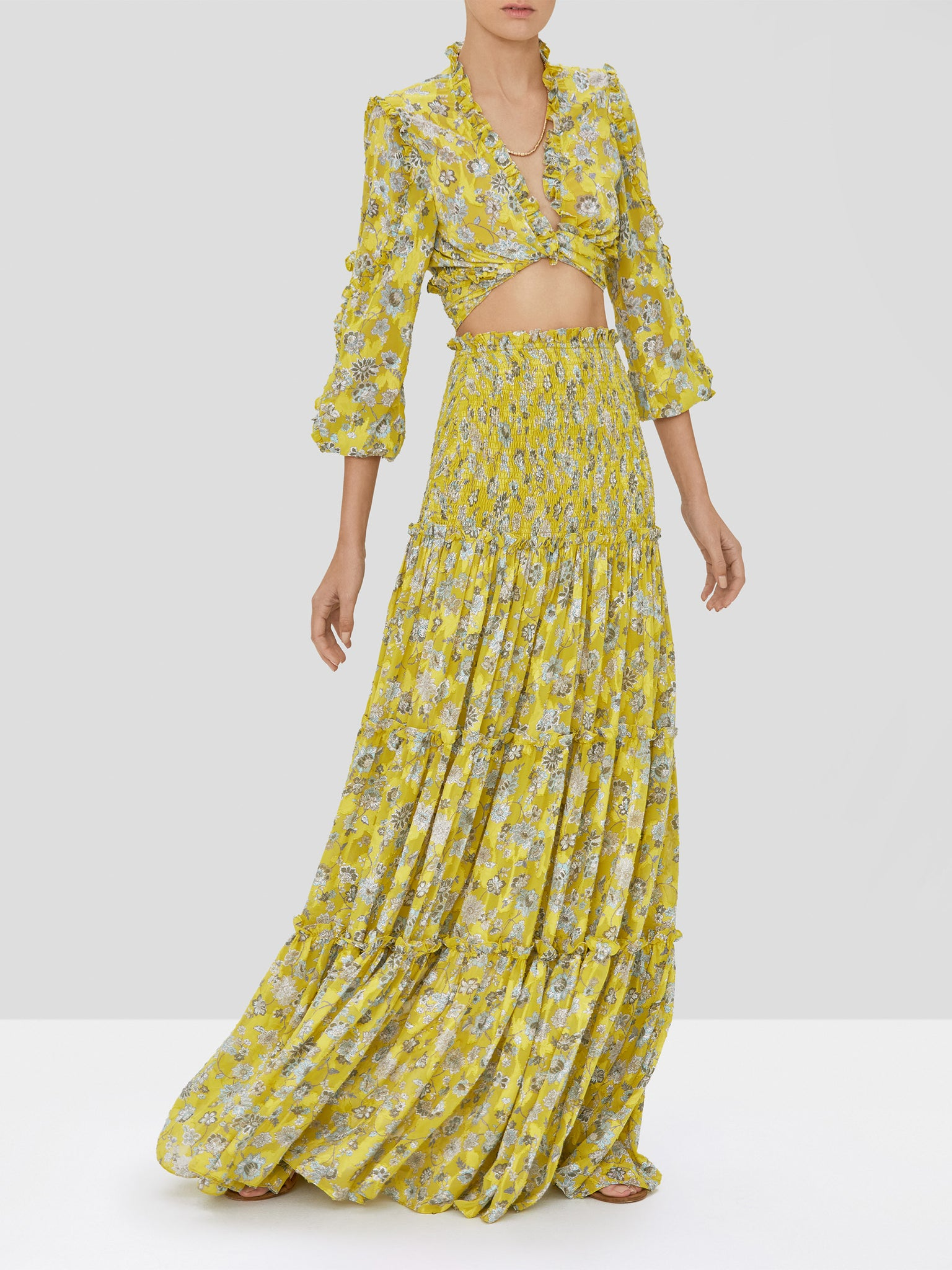 Alexis Odilo Top and Galarza Skirt in Citron Floral from our Pre-Spring 2020 Ready To Wear Collection