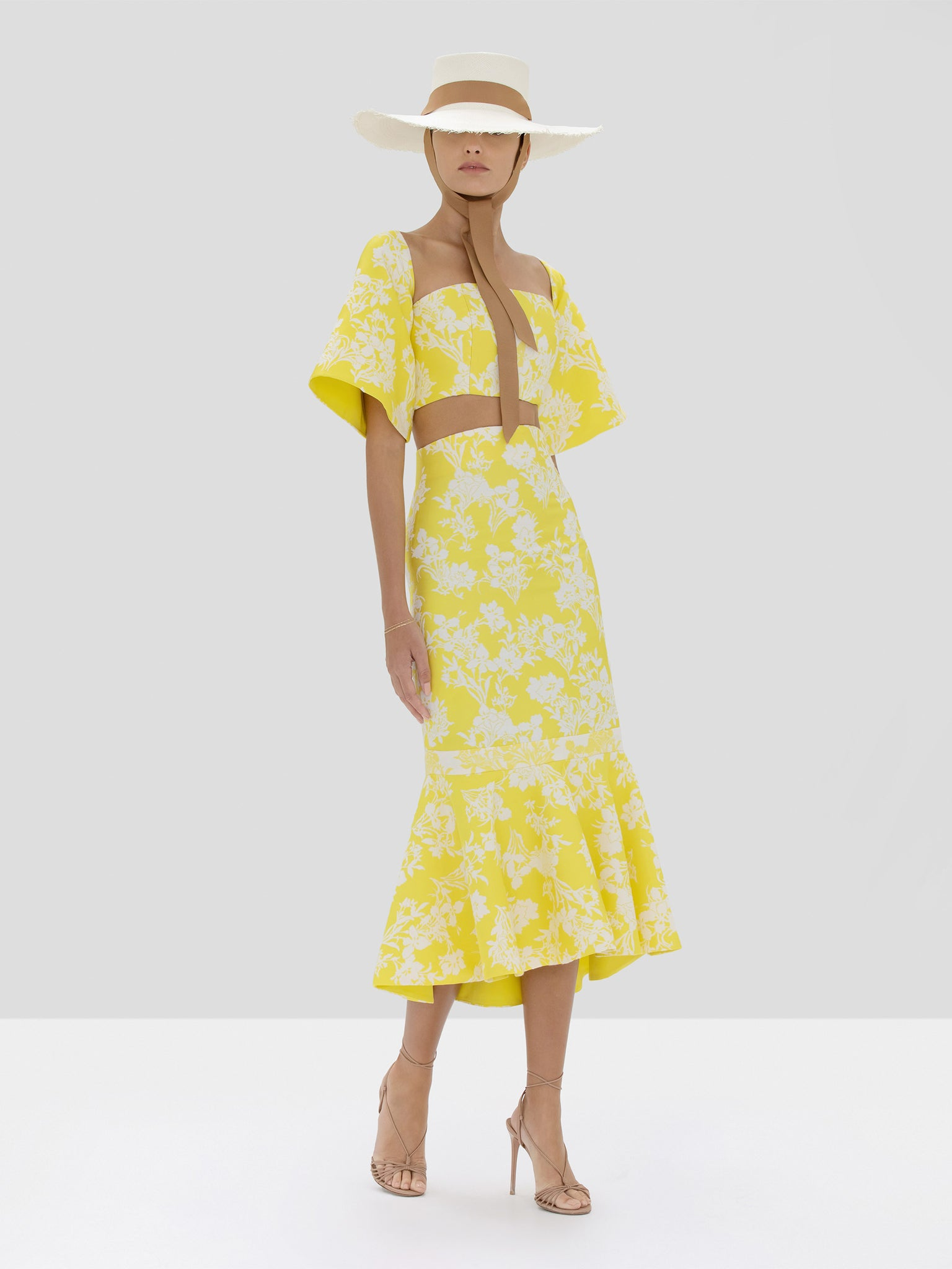 Alexis Oliana Crop Top and Ivorra Skirt in Citrus Jacquard from Spring Summer 2020 Collection