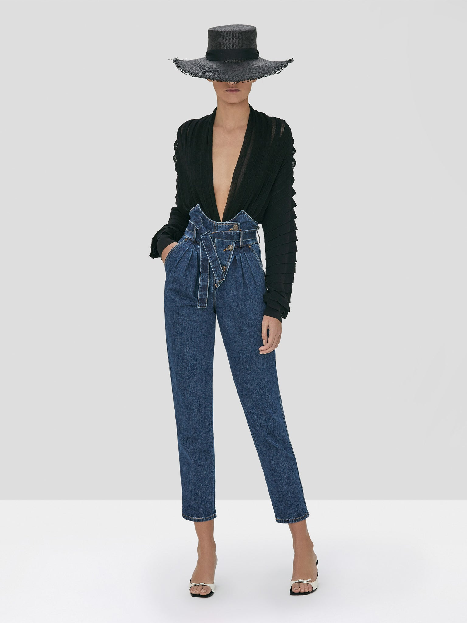 Alexis Oziel Top in Black and Stannis Denim Pant in Washed Denim from Spring Summer 2020