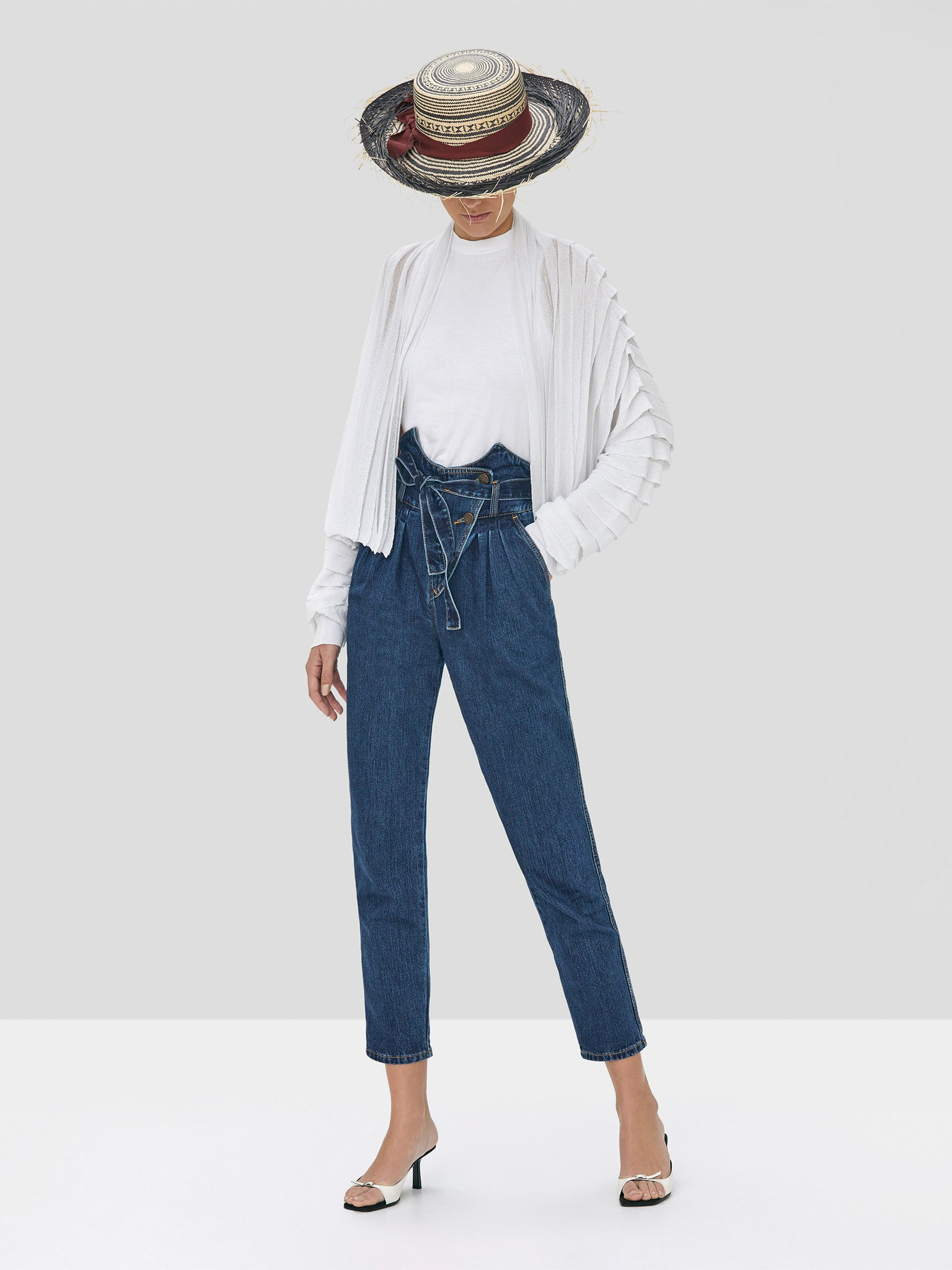 Alexis Oziel Top in White and Stannis Denim Pant in Washed Denim from Spring Summer 2020 Collection