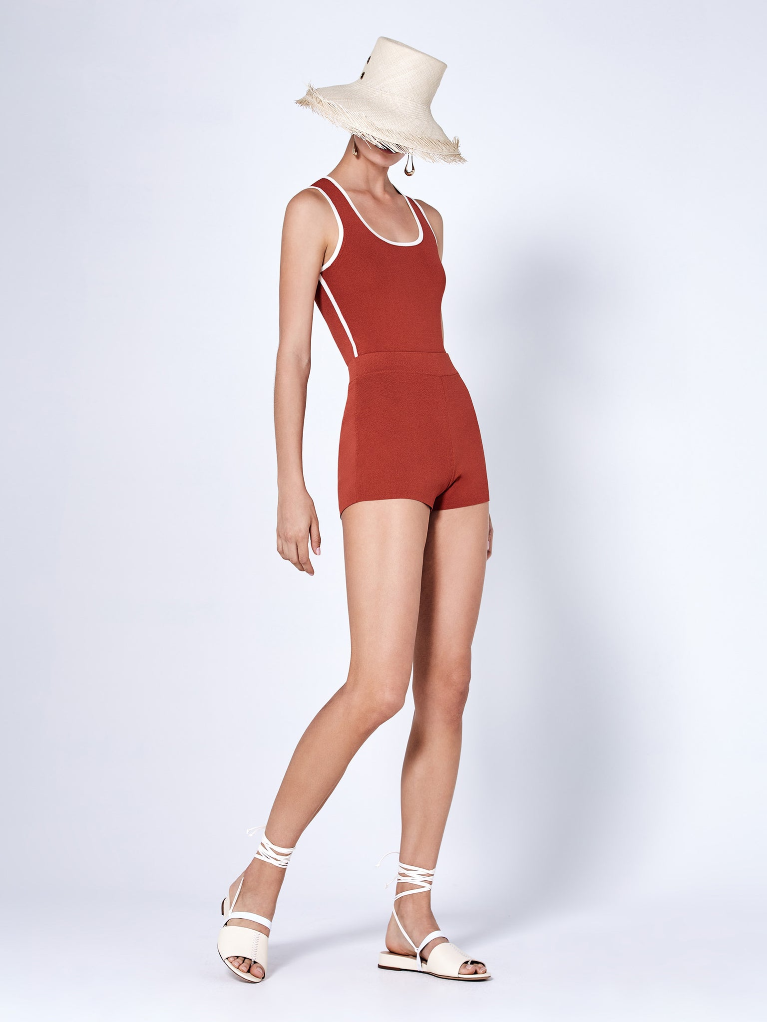 Alexis Panya Bodysuit in red and white piping