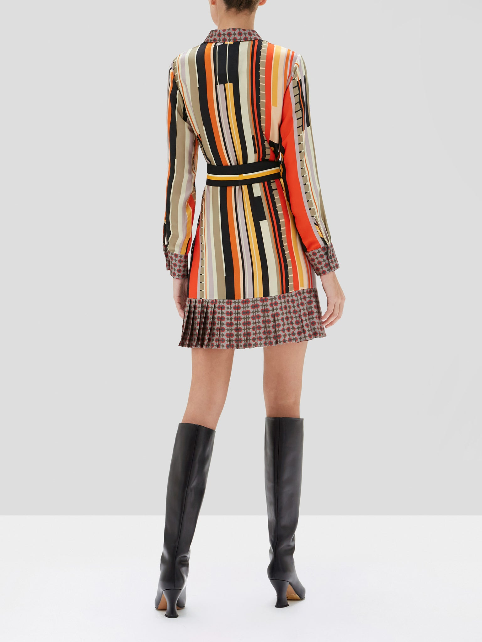 Payton dress in stripe foulard - Rear View