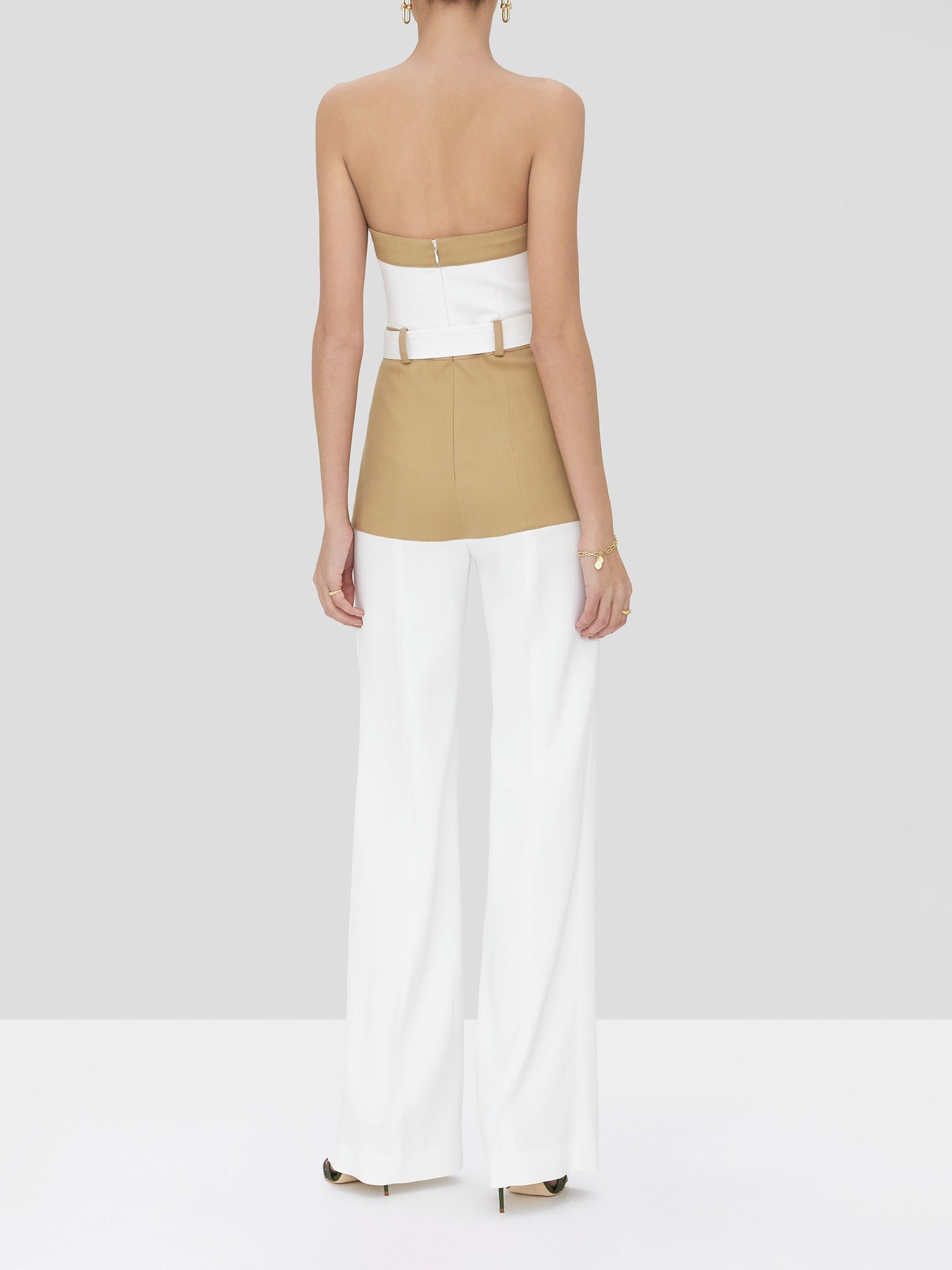 perrin jumpsuit in tan/white - Rear View