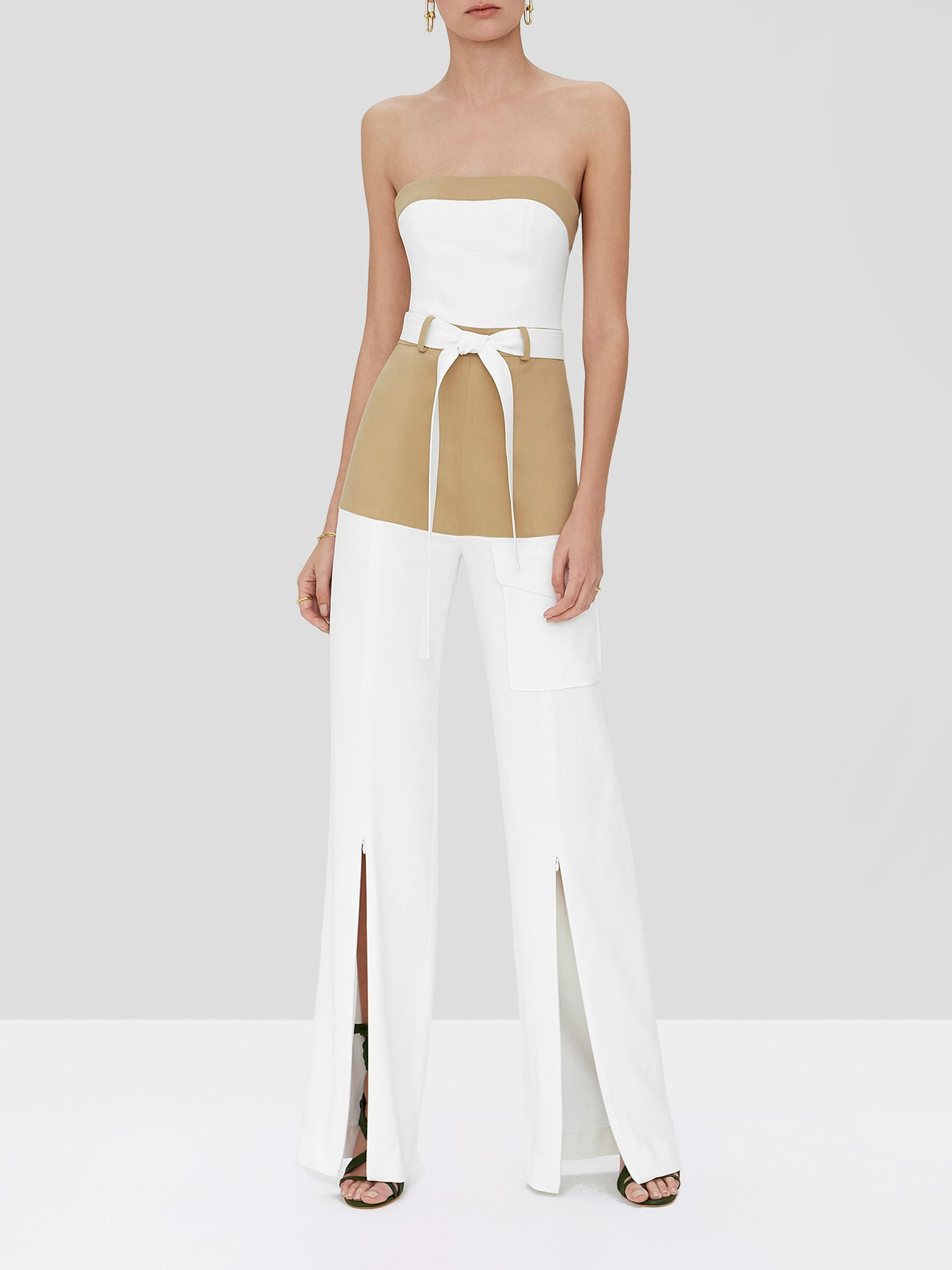 perrin jumpsuit in tan/white